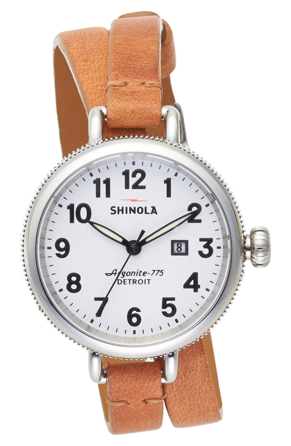 'The Birdy' Double Wrap Leather Strap Watch, 34mm,                         Main,                         color, NATURAL/ WHITE