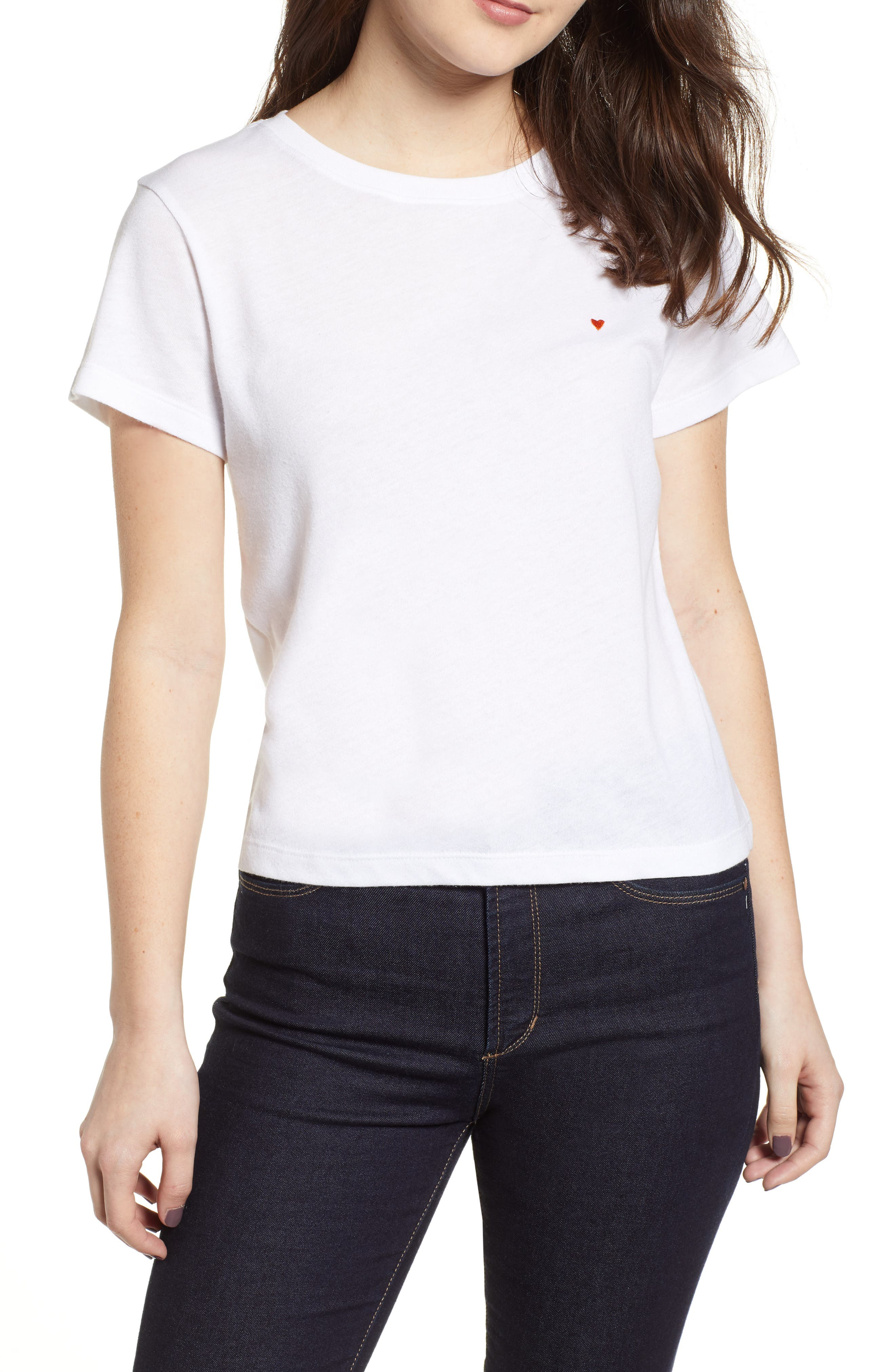 SUB_URBAN RIOT Vanessa Embroidered Heart Tee in White