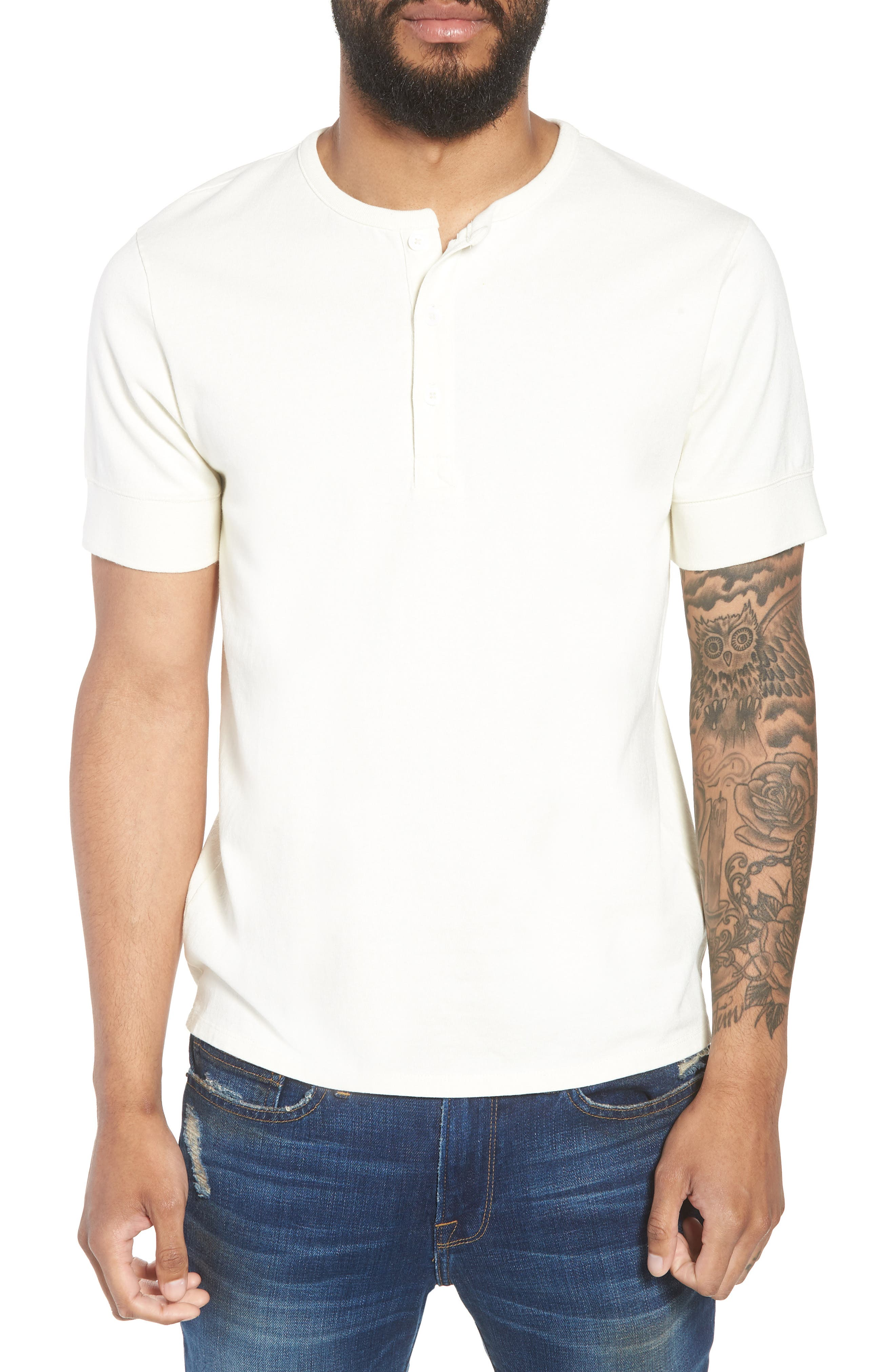 Slim Fit Henley T-Shirt,                         Main,                         color, OFF WHITE