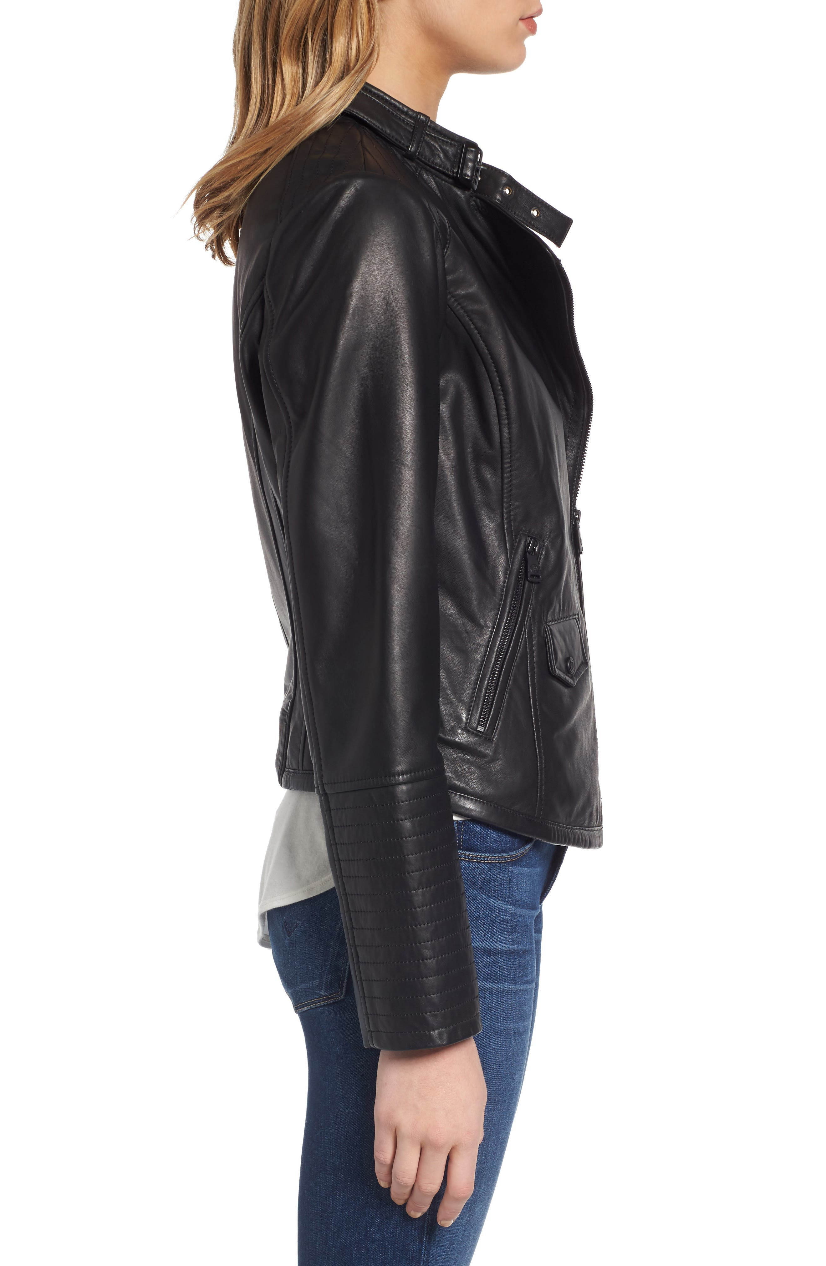 Jetta Asymmetrical Zip Leather Jacket,                             Alternate thumbnail 3, color,                             001