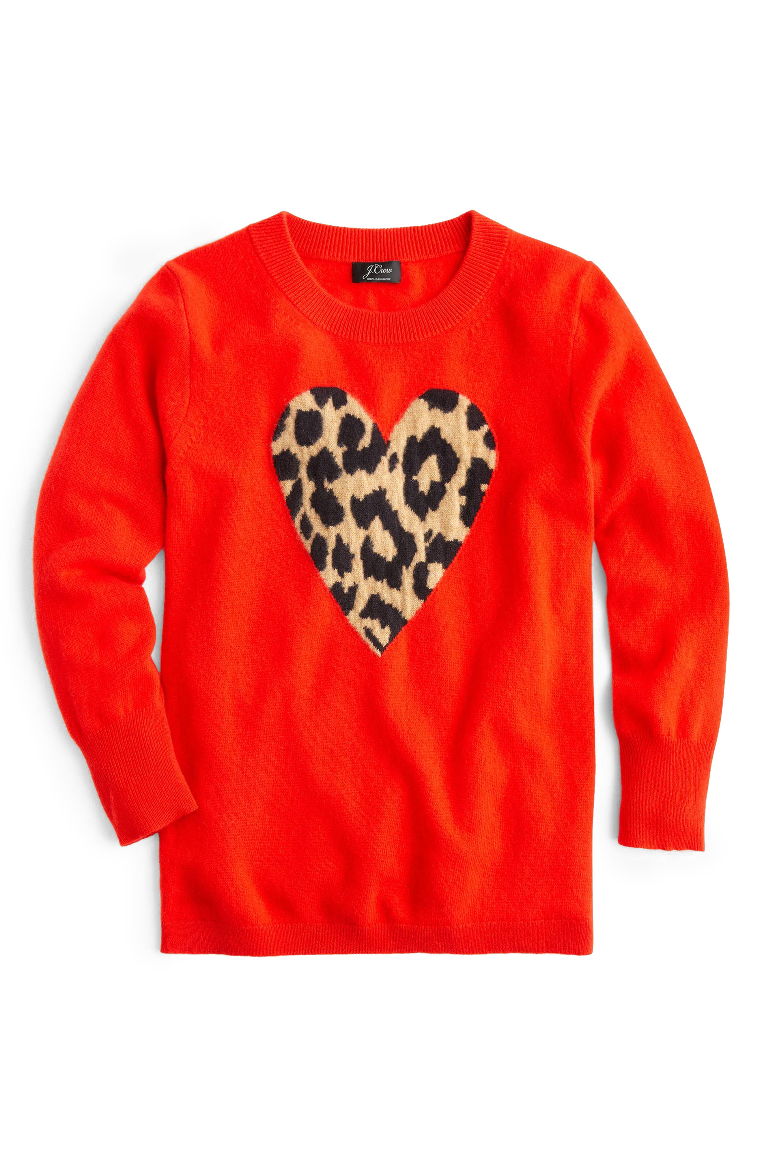 Leopard Heart Everyday Cashmere Sweater,                             Alternate thumbnail 6, color,                             600