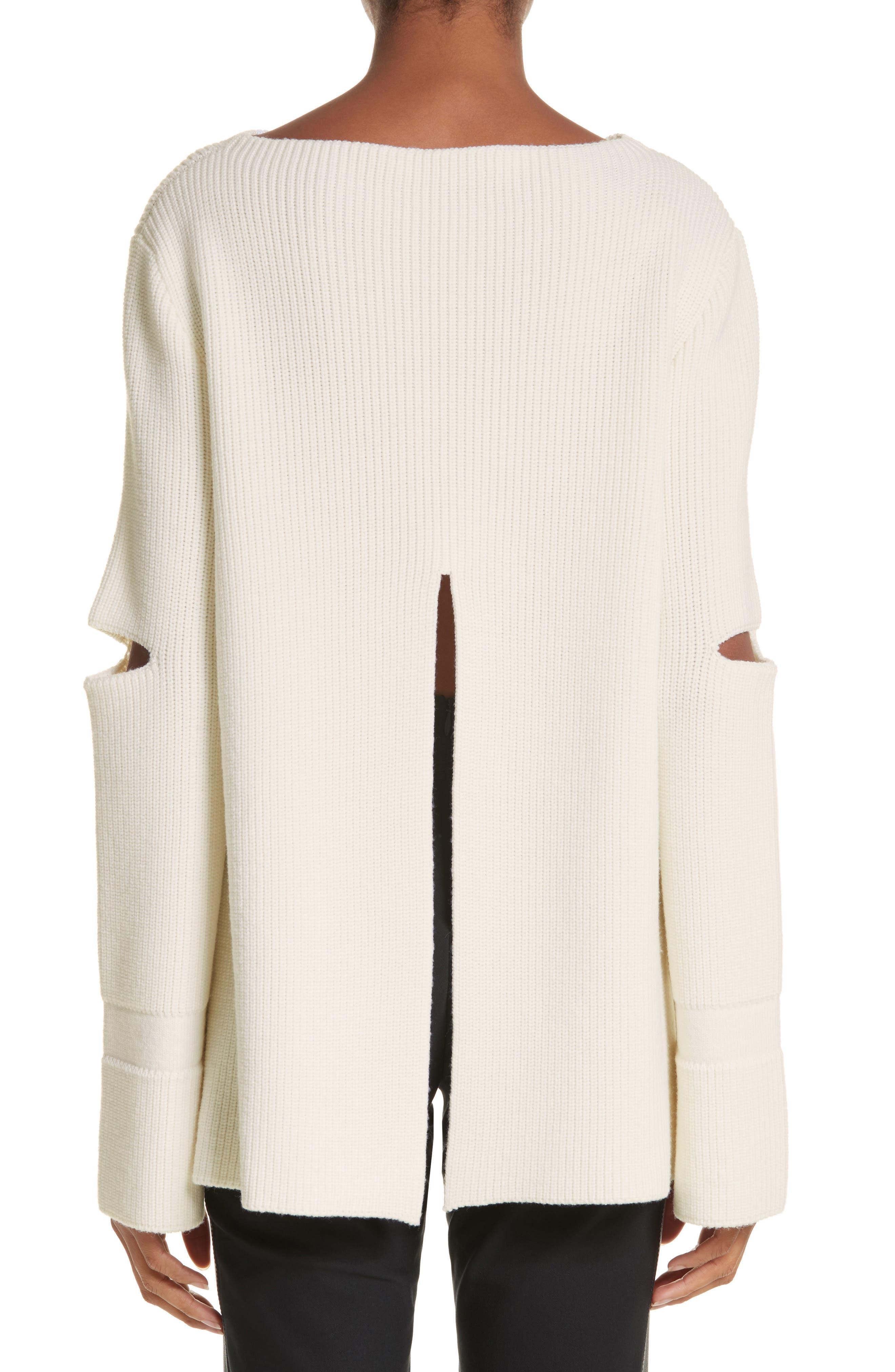 Slit Back Virgin Wool Blend Sweater,                             Alternate thumbnail 2, color,                             108