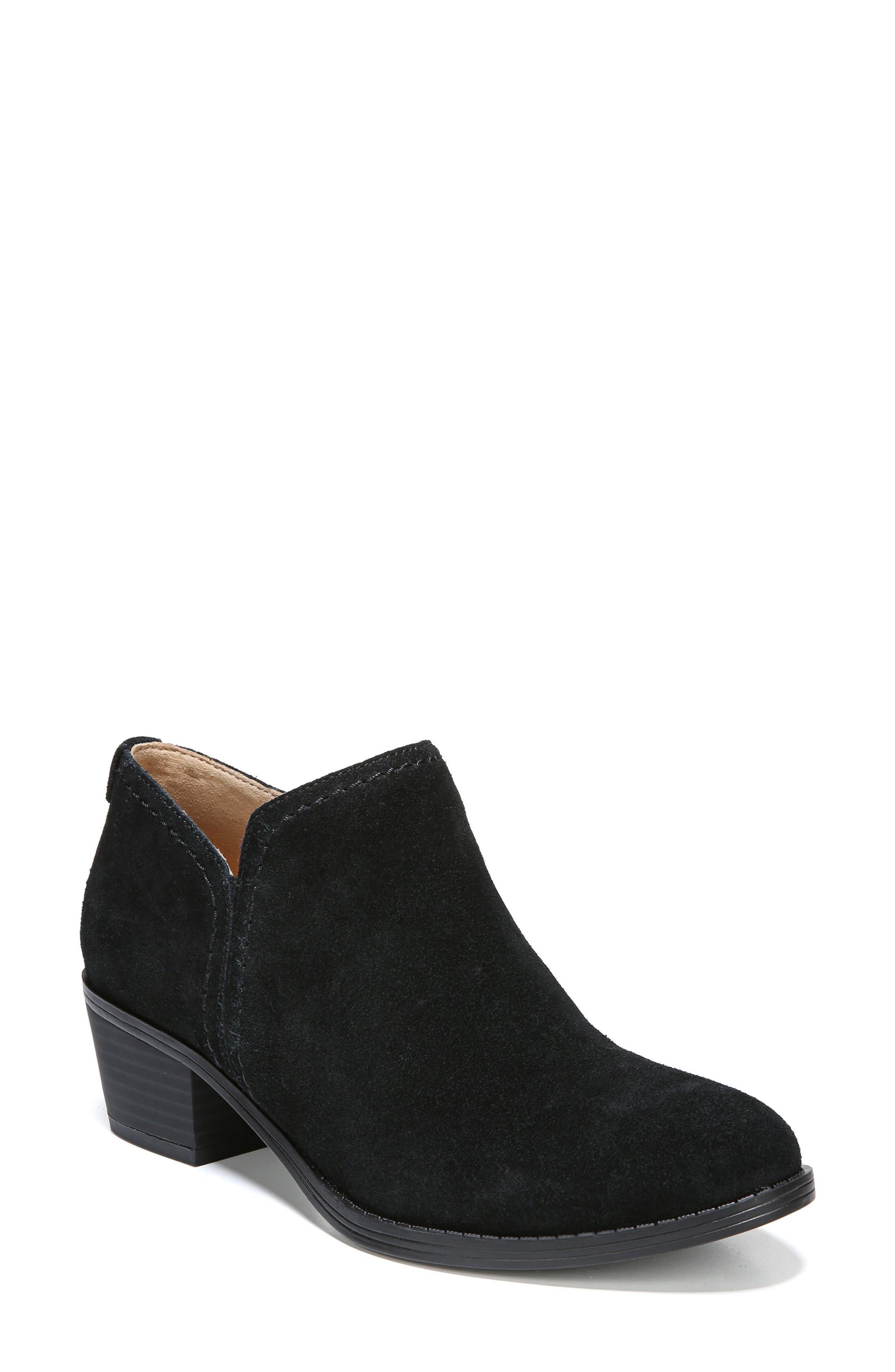 'Zarie' Block Heel Bootie,                             Main thumbnail 1, color,                             BLACK SUEDE