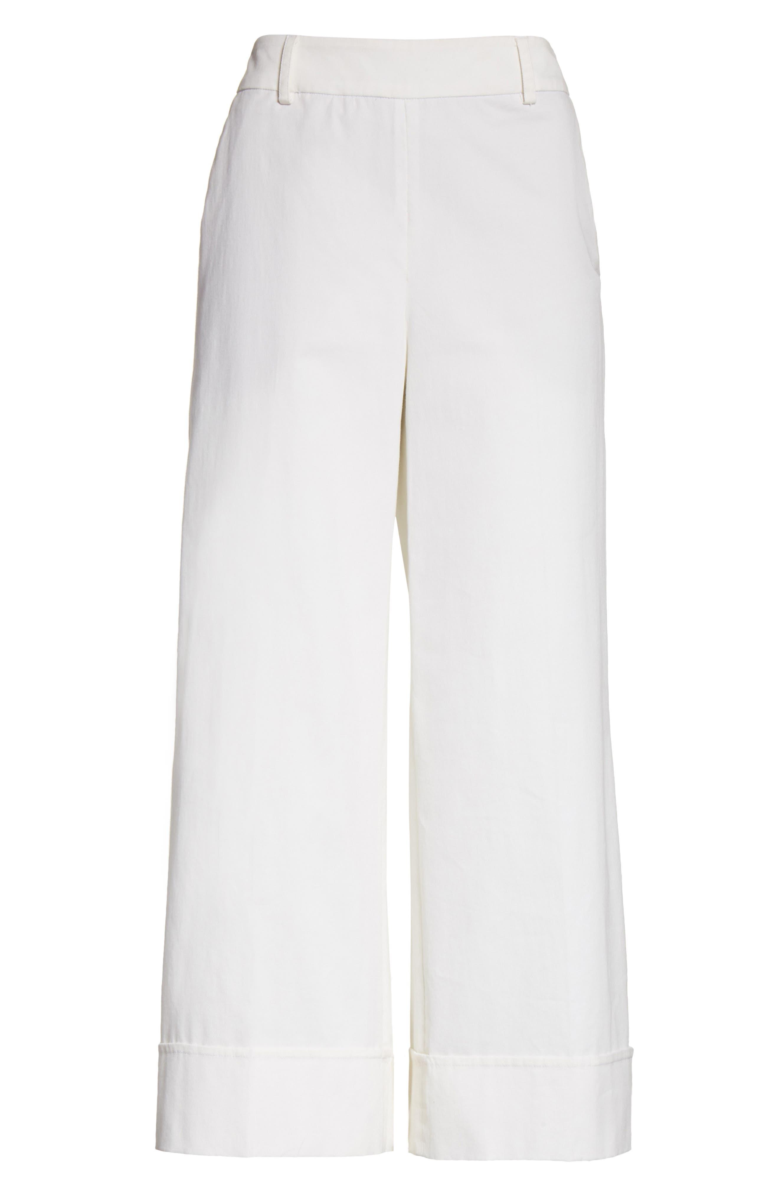Stretch Cotton Gabardine Crop Wide Leg Pants,                             Alternate thumbnail 6, color,