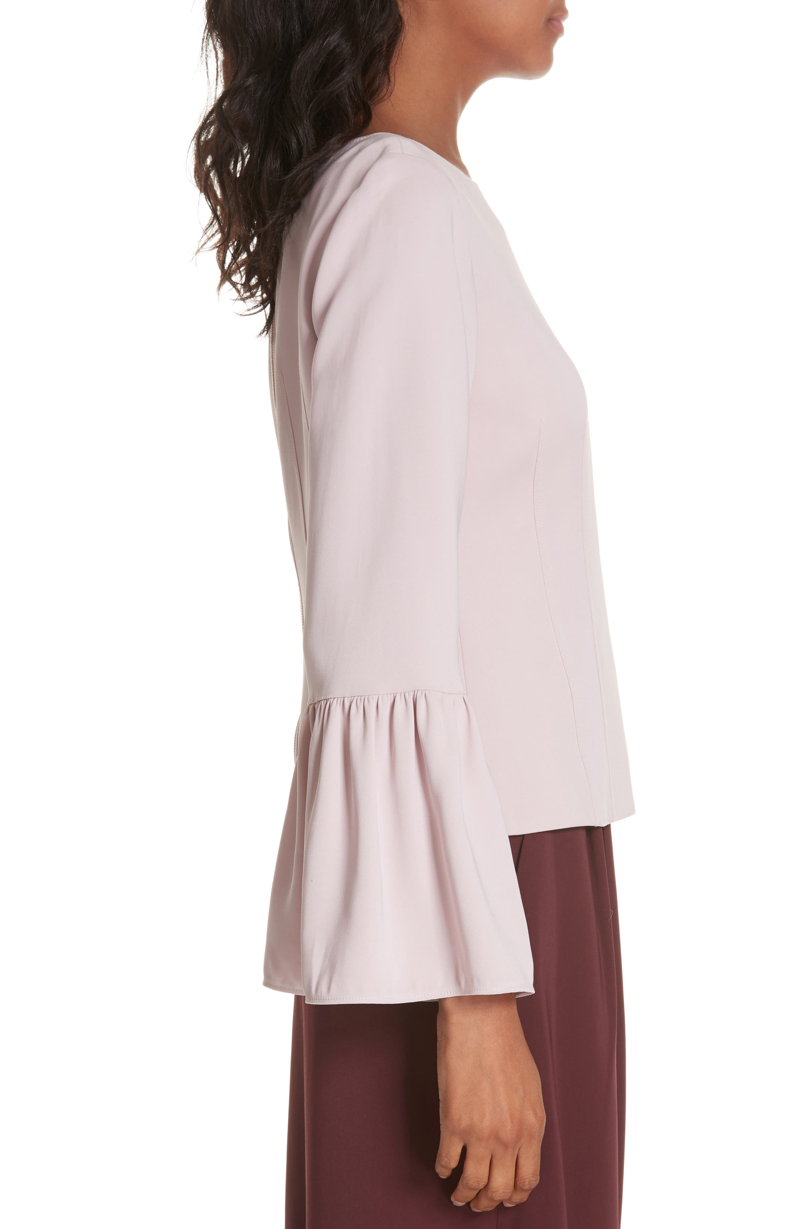Stretch Suiting Bell Sleeve Top,                             Alternate thumbnail 3, color,                             PINK LILAC