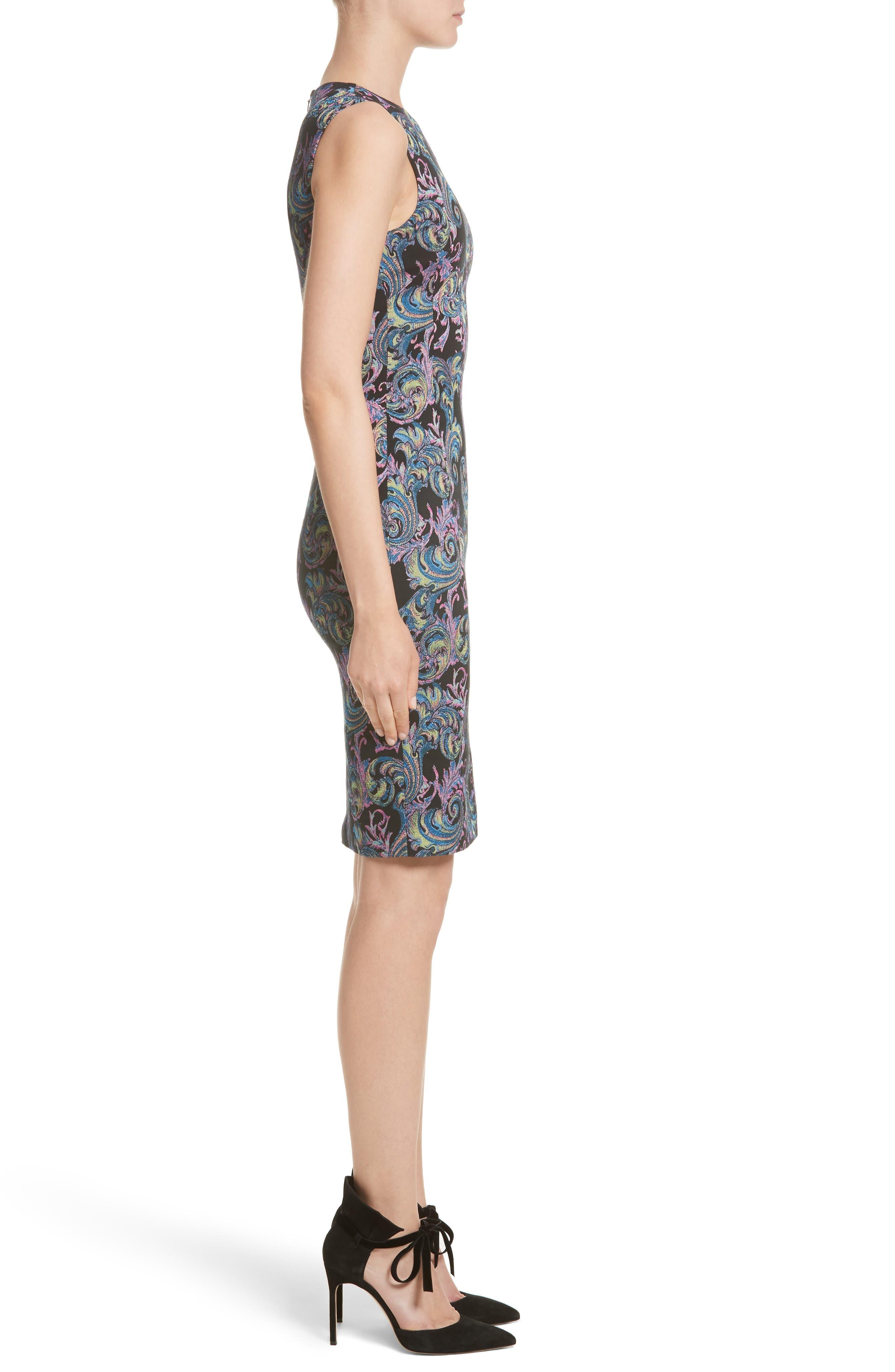 Collection Jacquard Sheath Dress,                             Alternate thumbnail 3, color,                             001