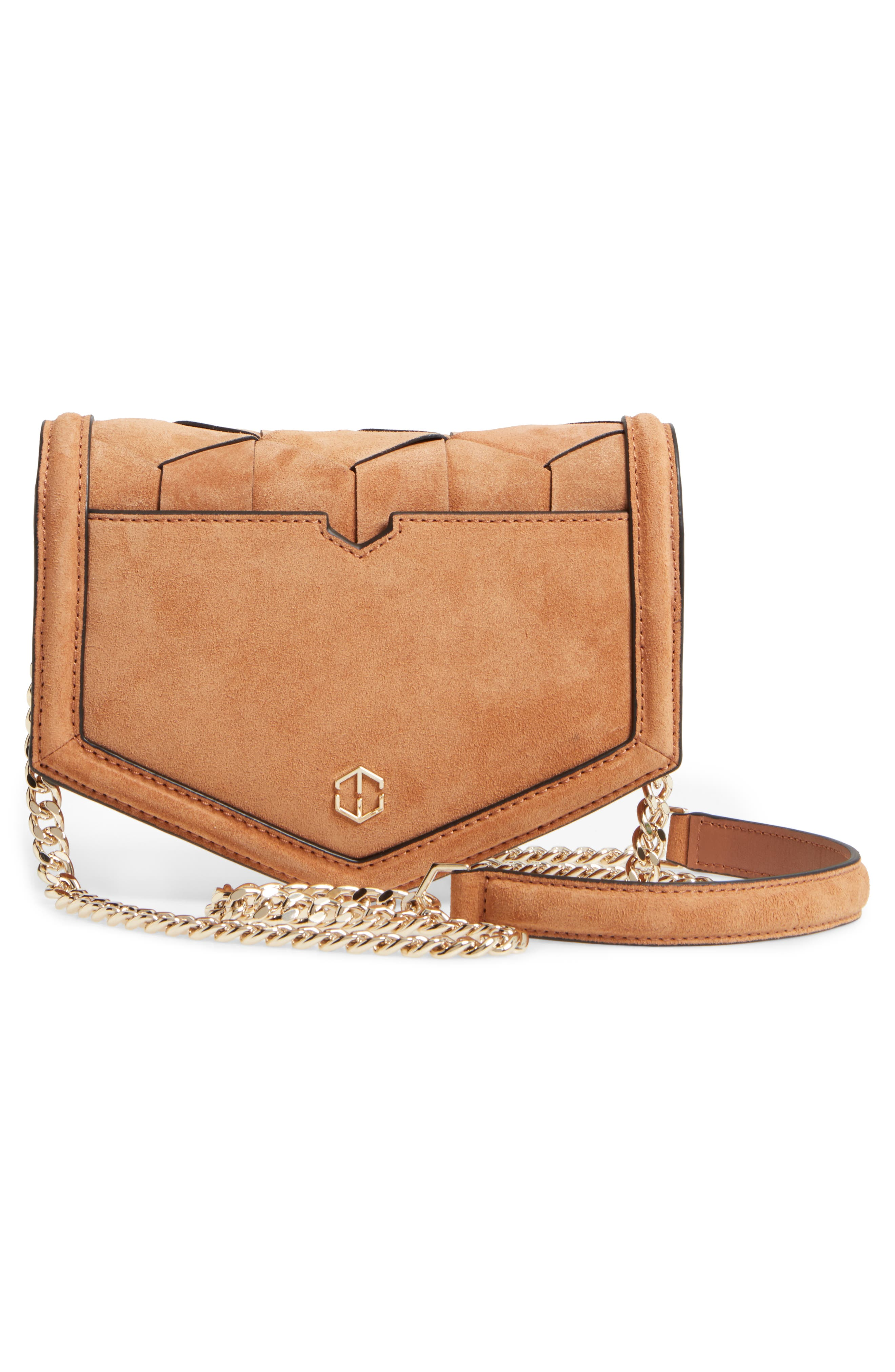 Jaunt Woven Calfskin Suede Wallet on a Chain,                             Alternate thumbnail 3, color,                             200