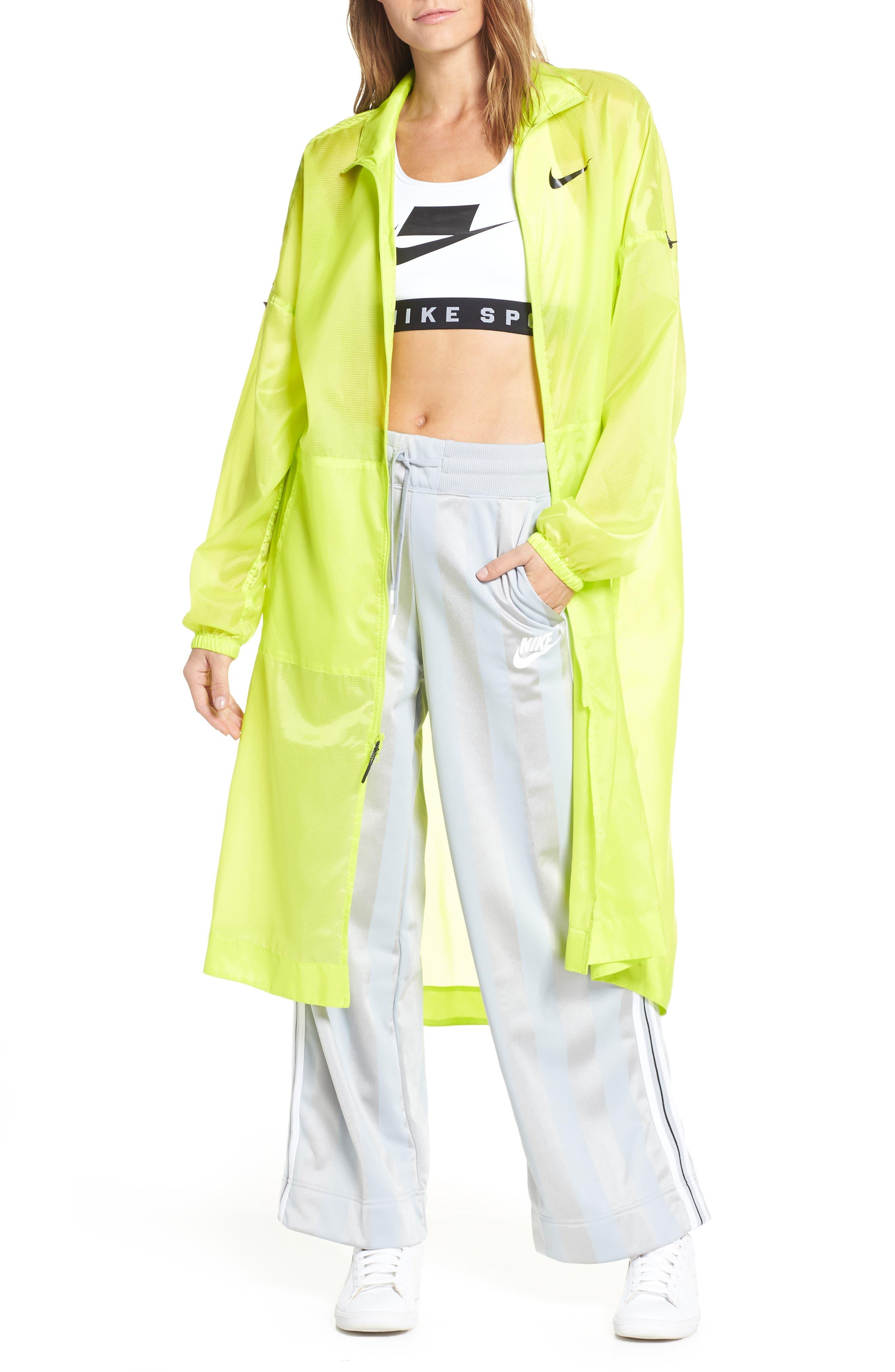 NIKE,                             Sportswear Women's Woven Jacket,                             Main thumbnail 1, color,                             CYBER/ BLACK
