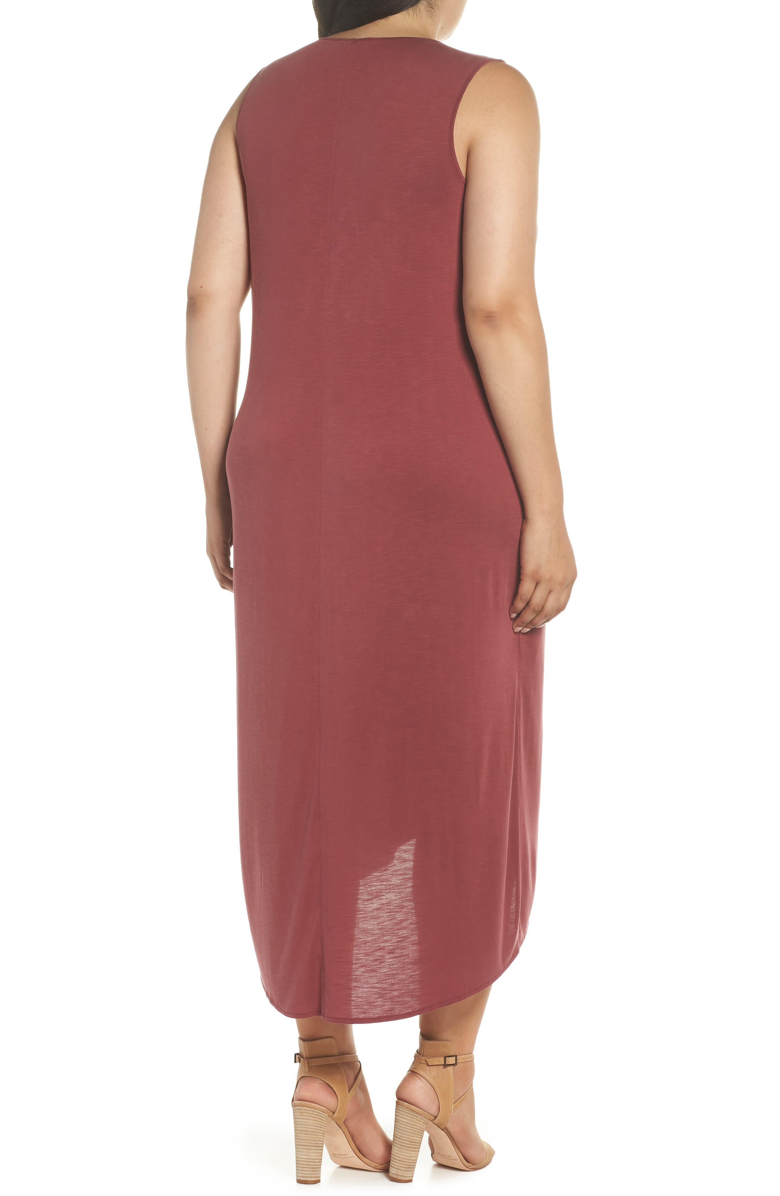 Boardwalk Jersey High/Low Dress,                             Alternate thumbnail 2, color,                             WASHED RAISIN