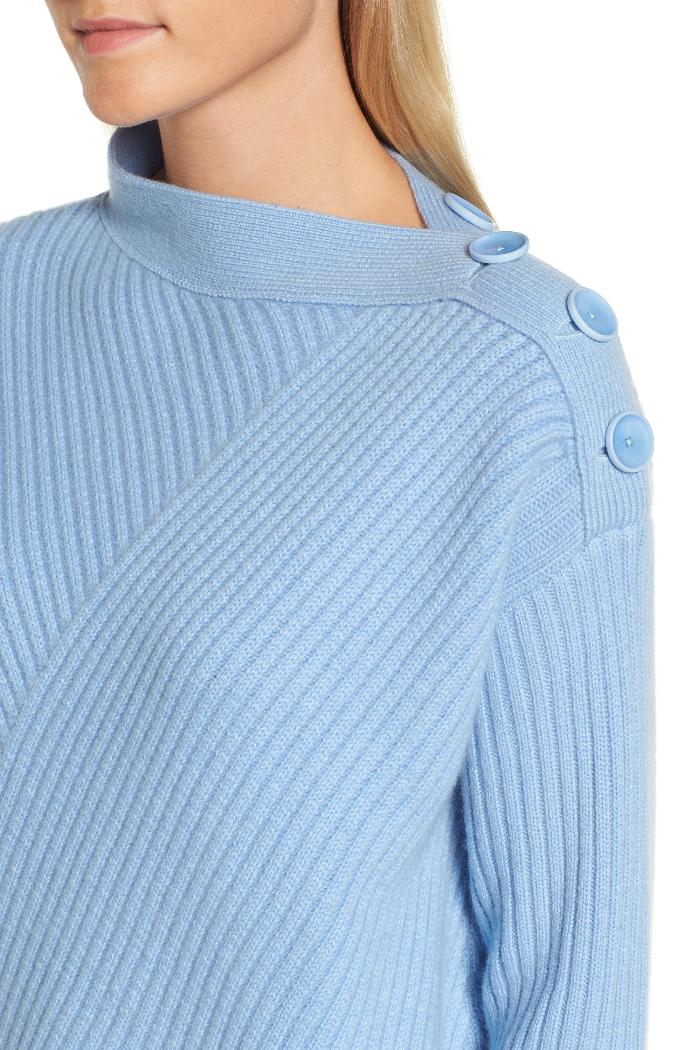 Bateau Neck Button Detail Cashmere Pullover,                             Alternate thumbnail 4, color,                             420