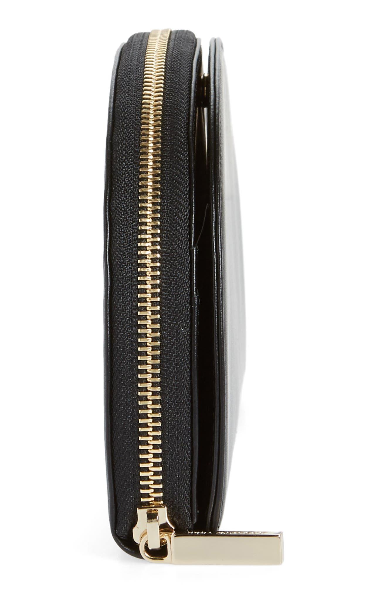 Dia Continental Mirror Wallet,                             Alternate thumbnail 5, color,                             TRUE BLACK