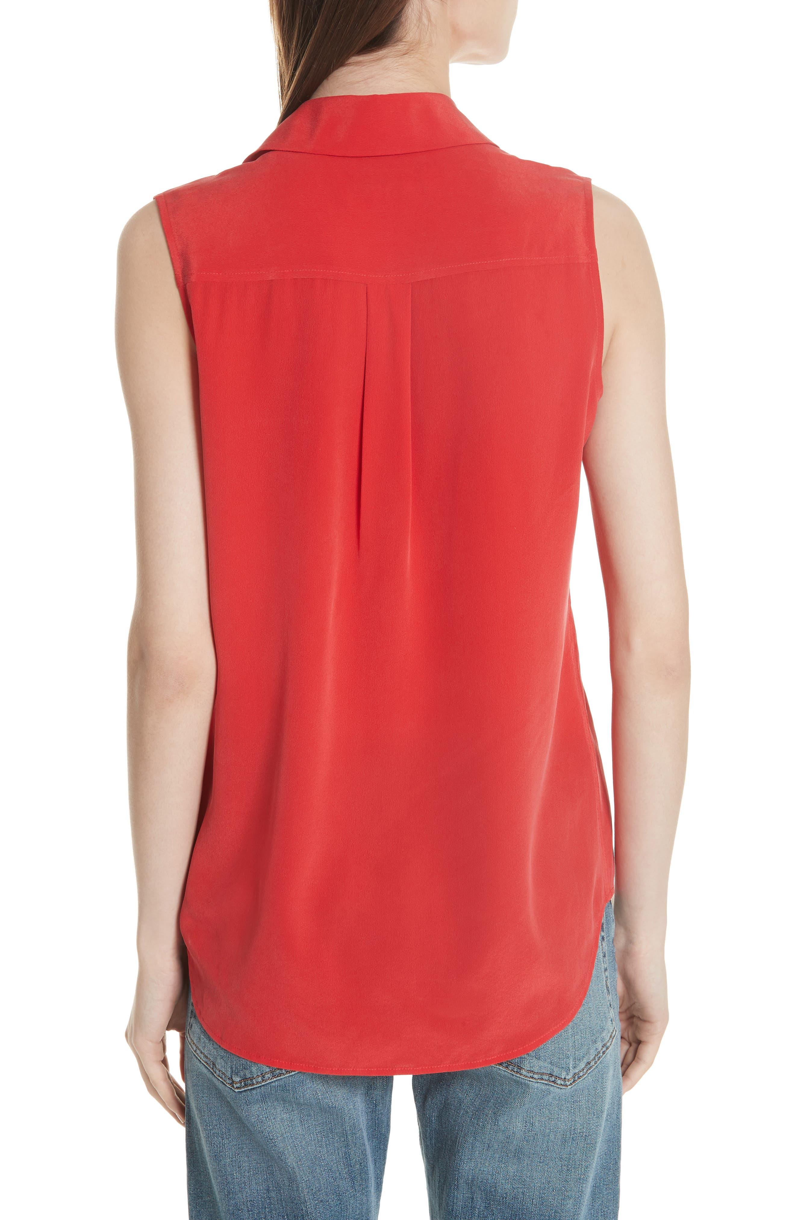 'Slim Signature' Sleeveless Silk Shirt,                             Alternate thumbnail 52, color,