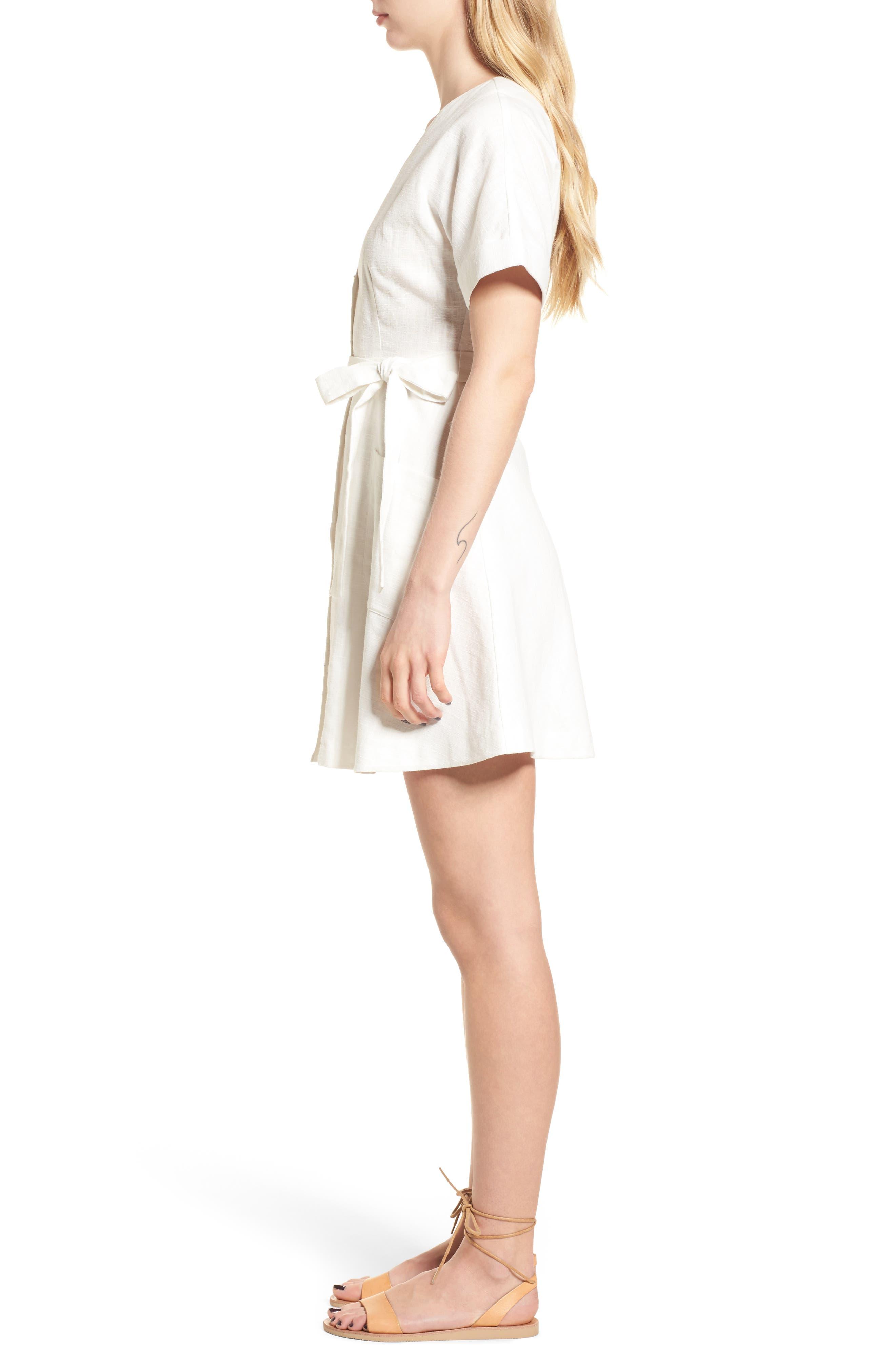 Linen & Cotton Button Front Dress,                             Alternate thumbnail 3, color,                             100