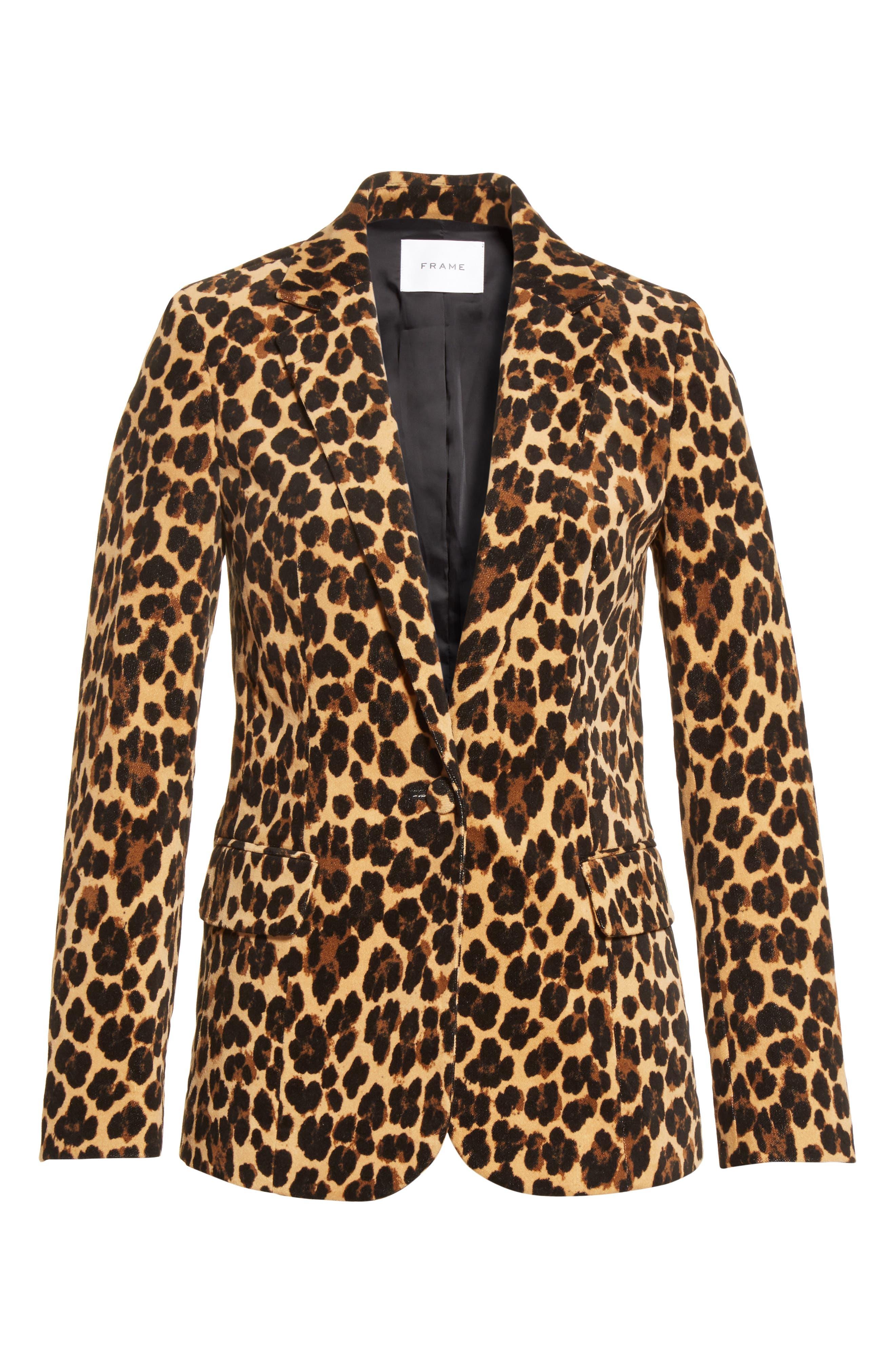 Cheetah Classic Velvet Blazer,                             Alternate thumbnail 5, color,                             200