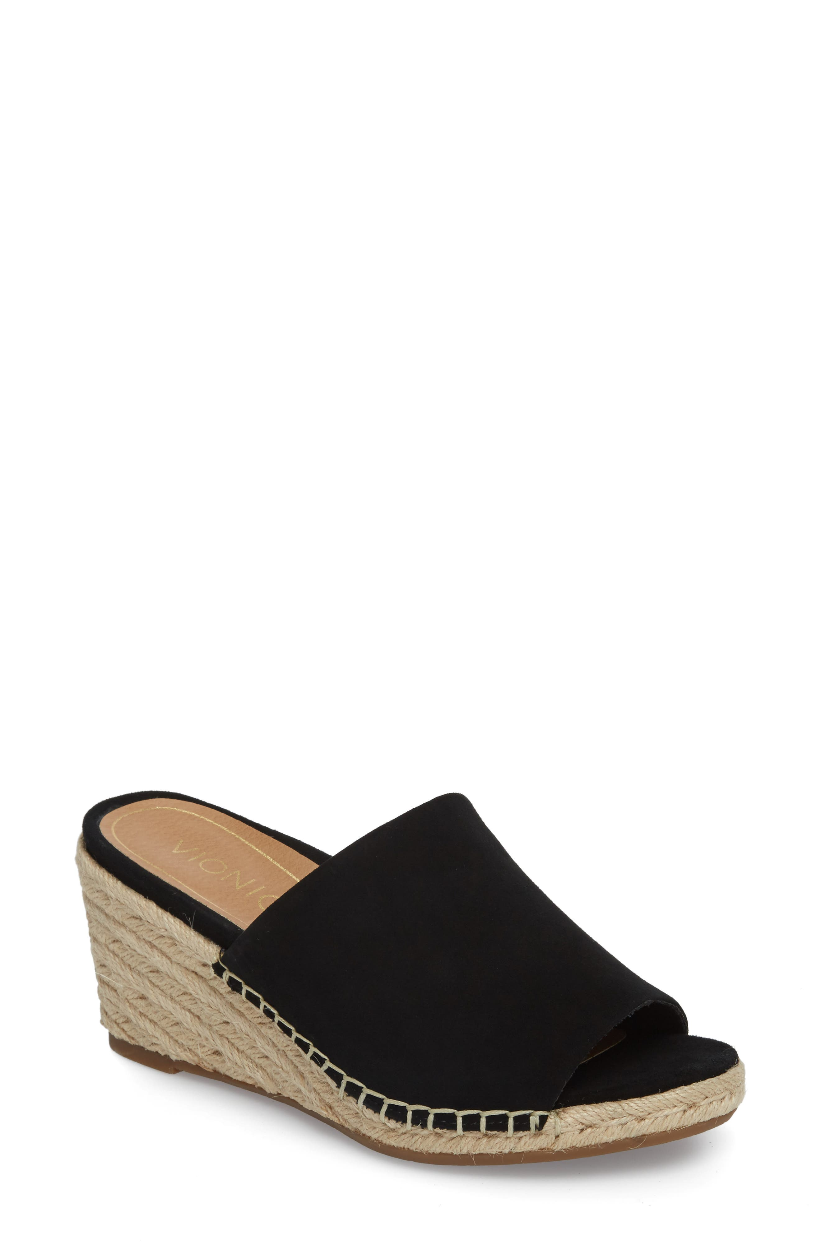 Kadyn Espadrille Wedge Sandal,                             Main thumbnail 1, color,                             BLACK SUEDE