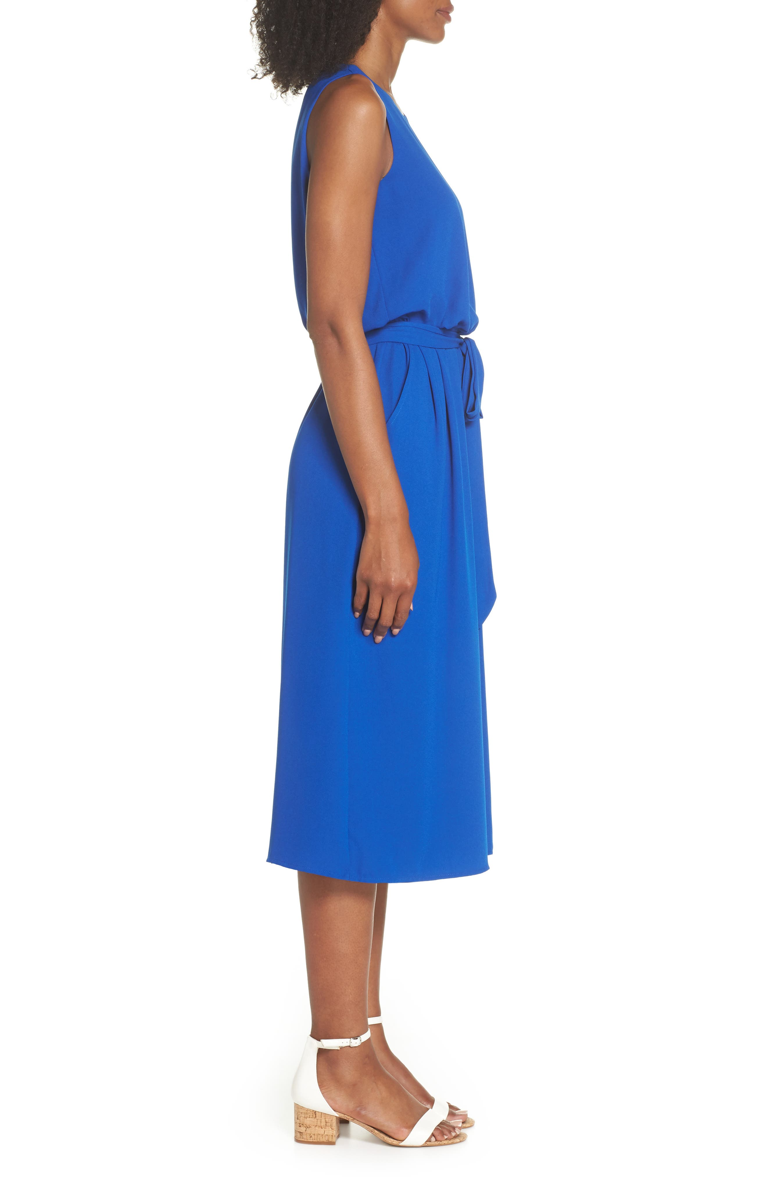 Moss Crepe Wide Leg Jumpsuit,                             Alternate thumbnail 3, color,                             ROYAL