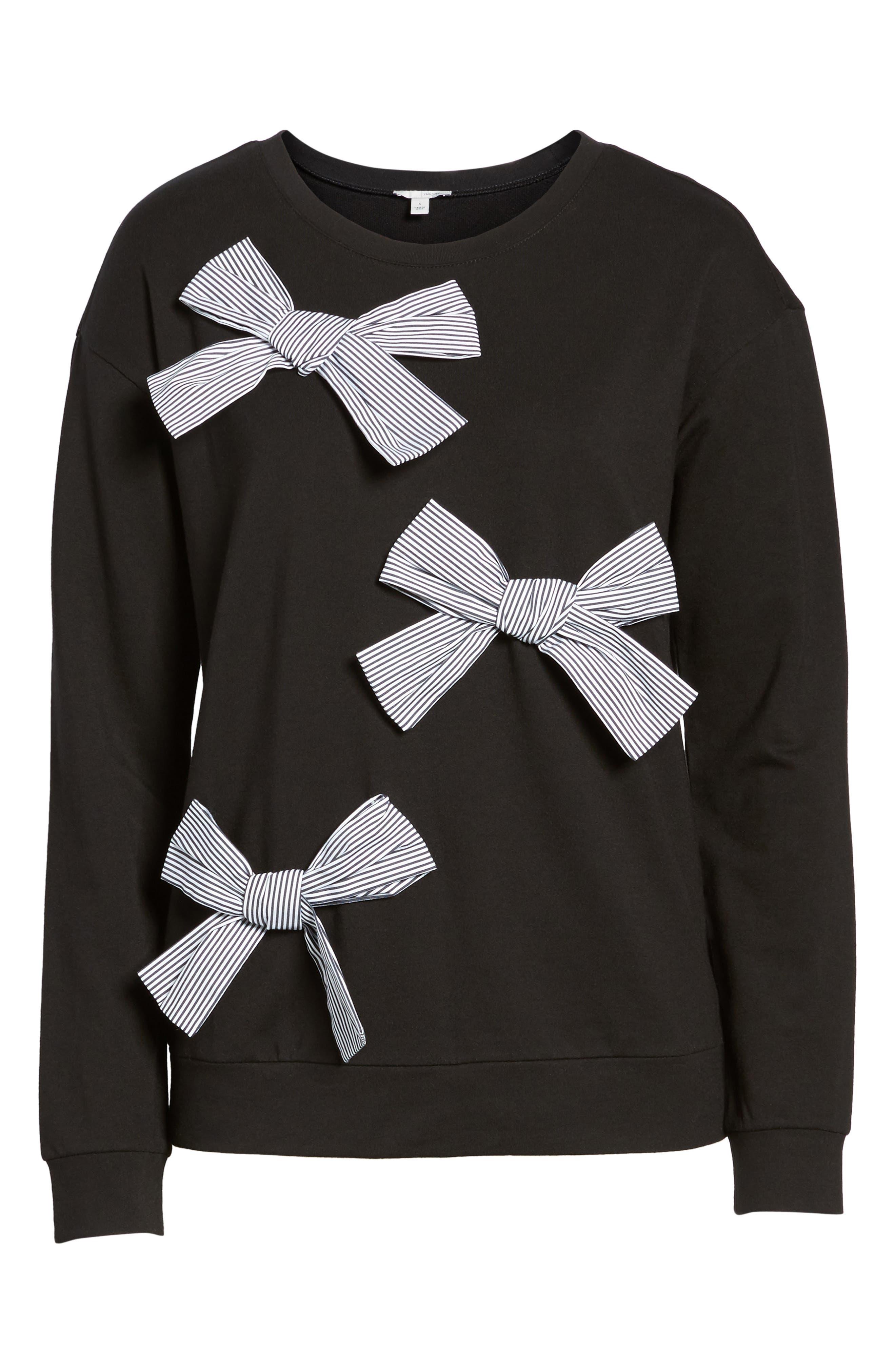 Bow Detail Sweatshirt,                             Alternate thumbnail 6, color,                             001