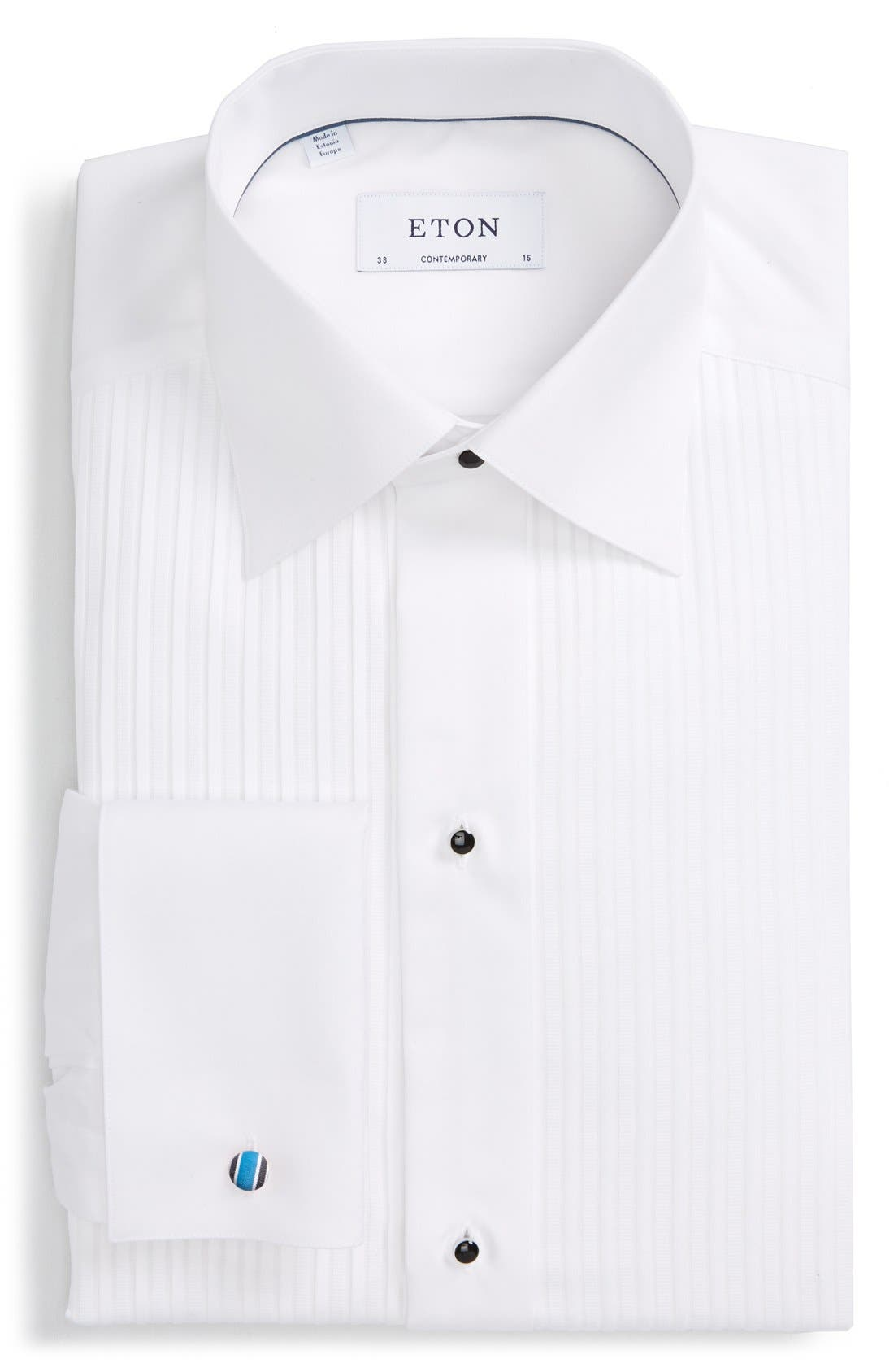 Contemporary Fit Pleated Bib Tuxedo Shirt,                             Main thumbnail 1, color,                             WHITE