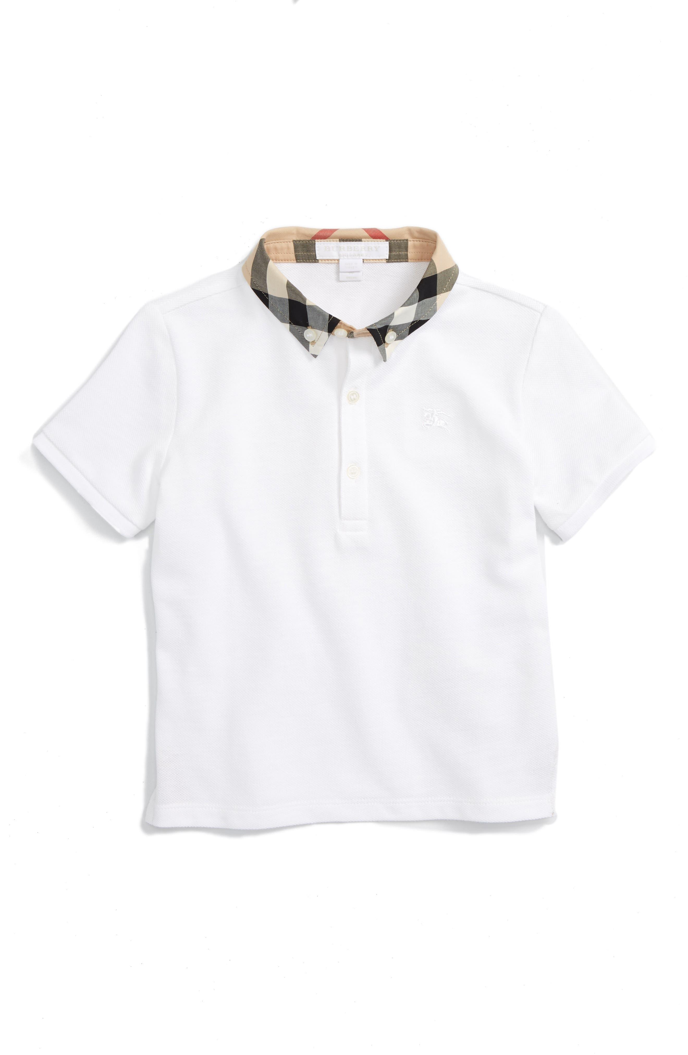 Toddler Boys Burberry Mini William Polo Size 2Y  White