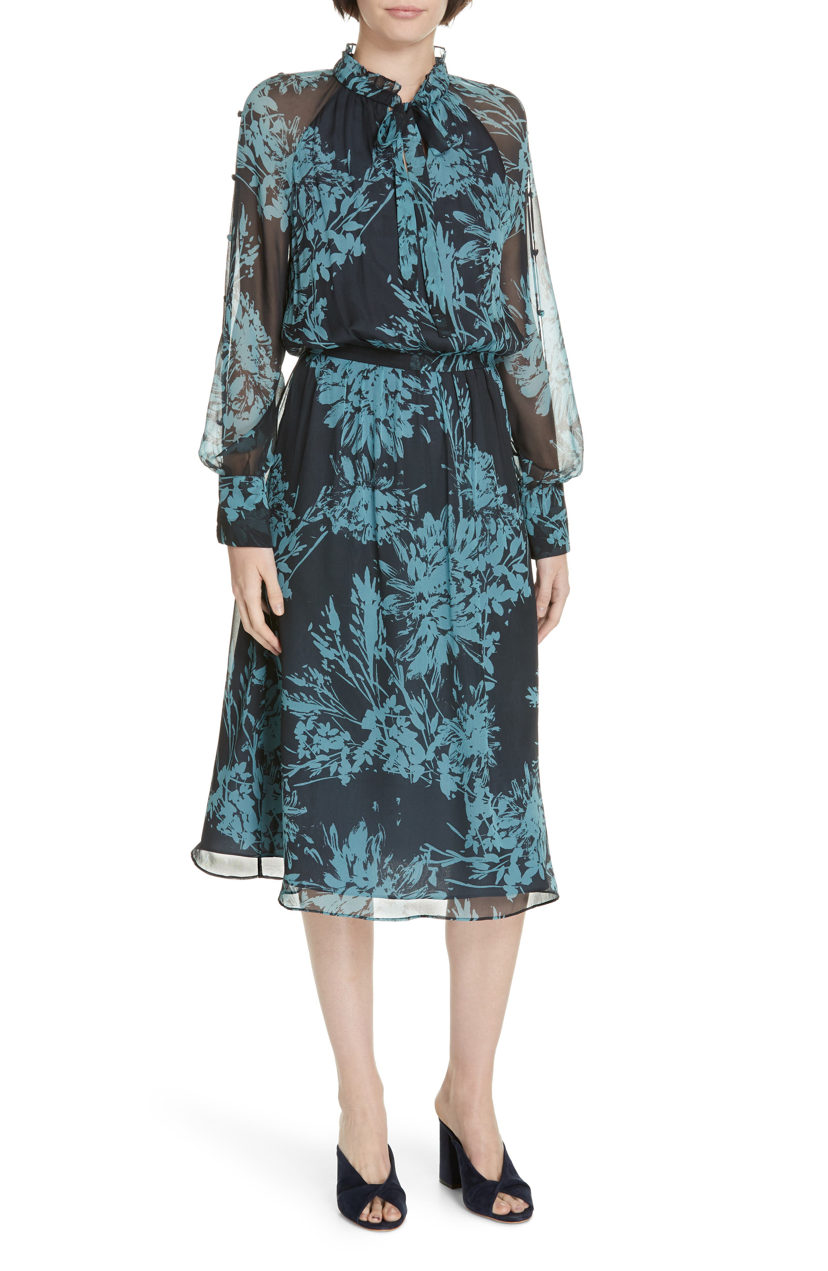 Equipment Henriette Silk Chiffon Dress, Blue