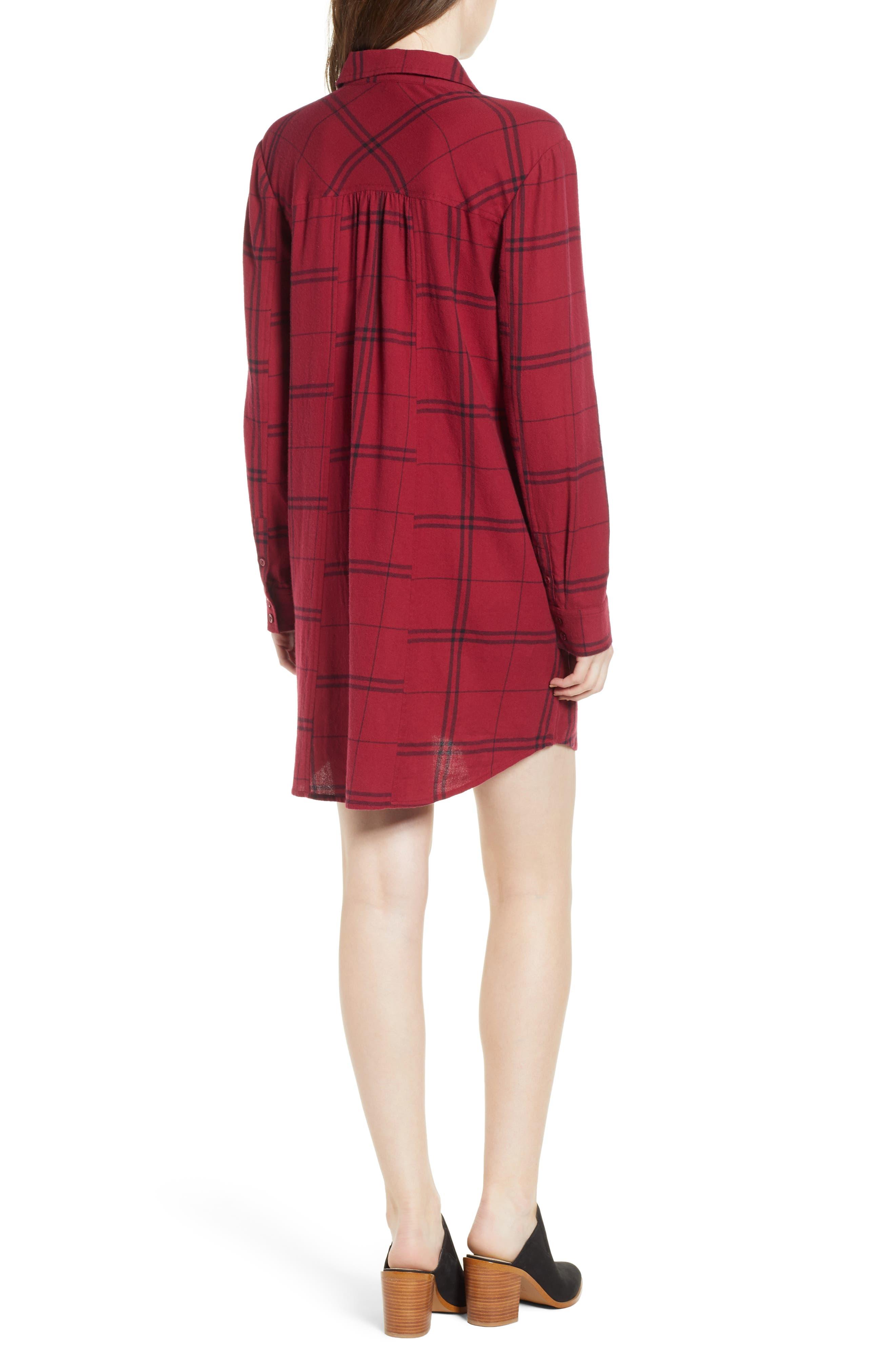 Plaid Shirt Dress,                             Alternate thumbnail 2, color,                             RED RUMBA SUNNY PLAID