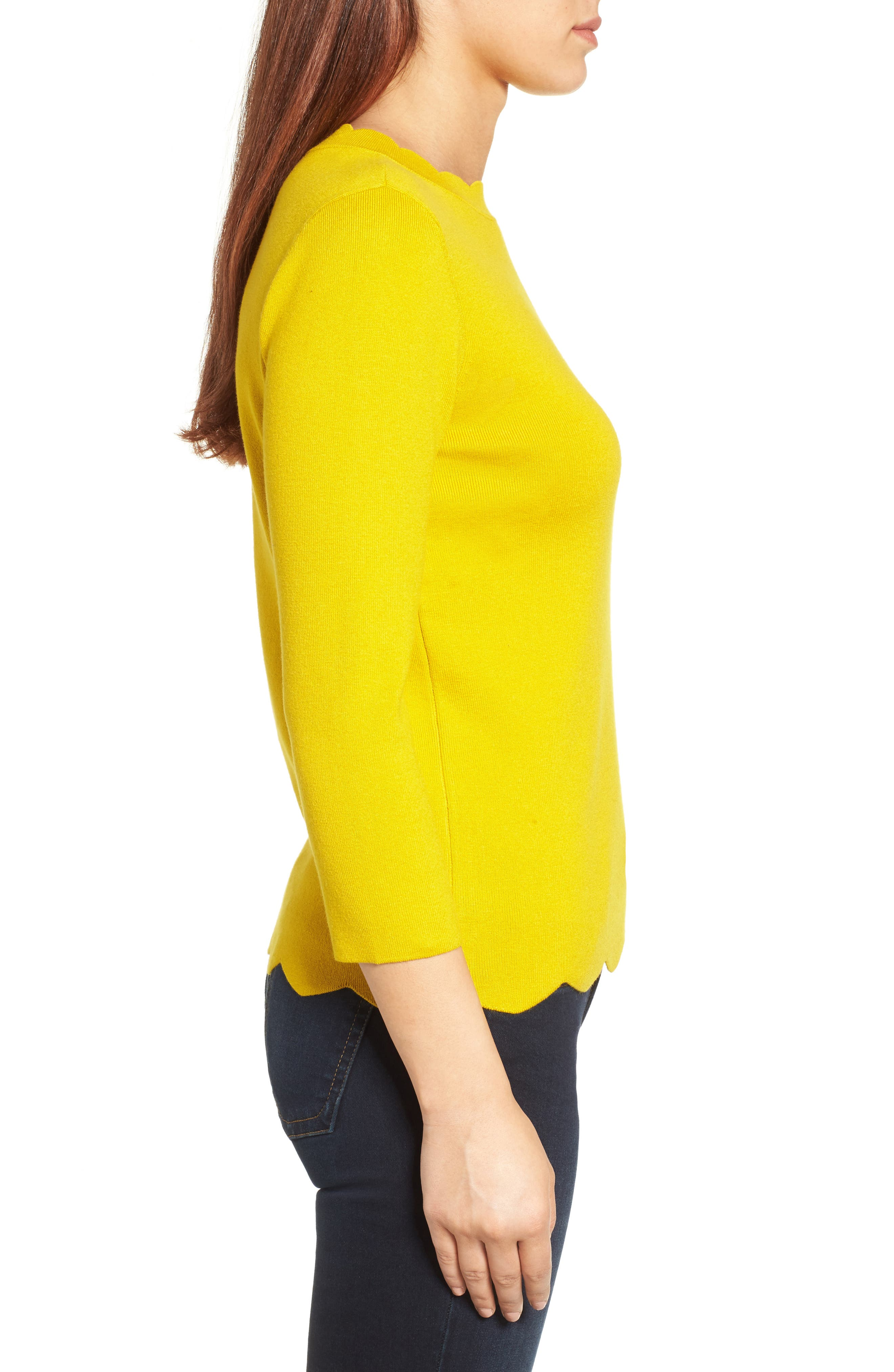 Halogen Scallop Edge Sweater,                             Alternate thumbnail 32, color,