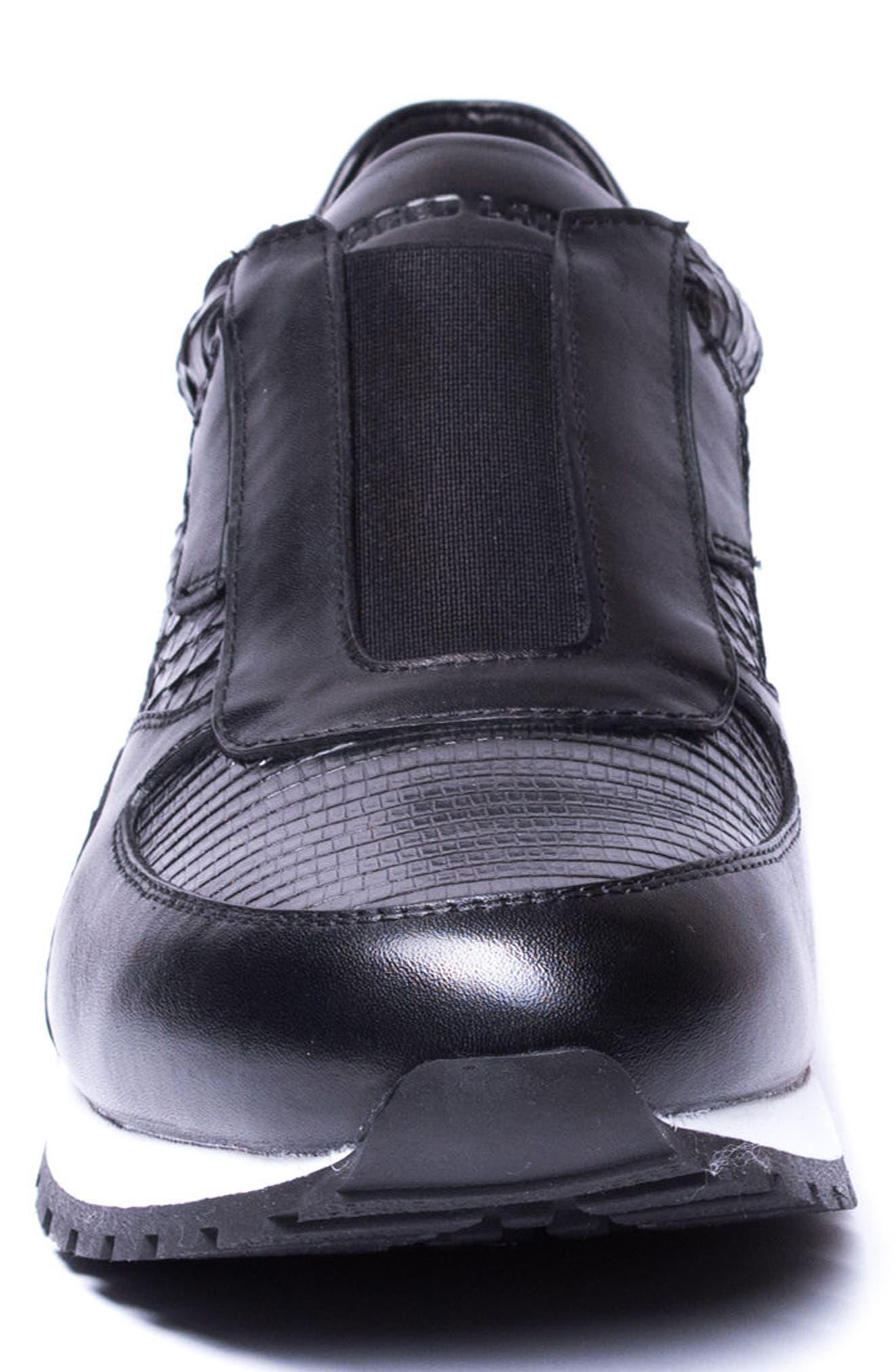Barrett Embossed Slip-On Sneaker,                             Alternate thumbnail 4, color,                             BLACK LEATHER
