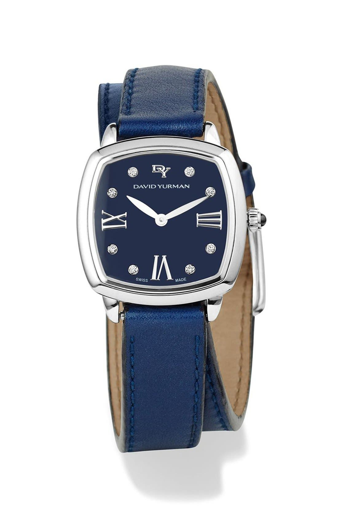 'Albion' 27mm Leather Swiss Quartz Watch with Diamonds,                             Main thumbnail 1, color,                             BLUE