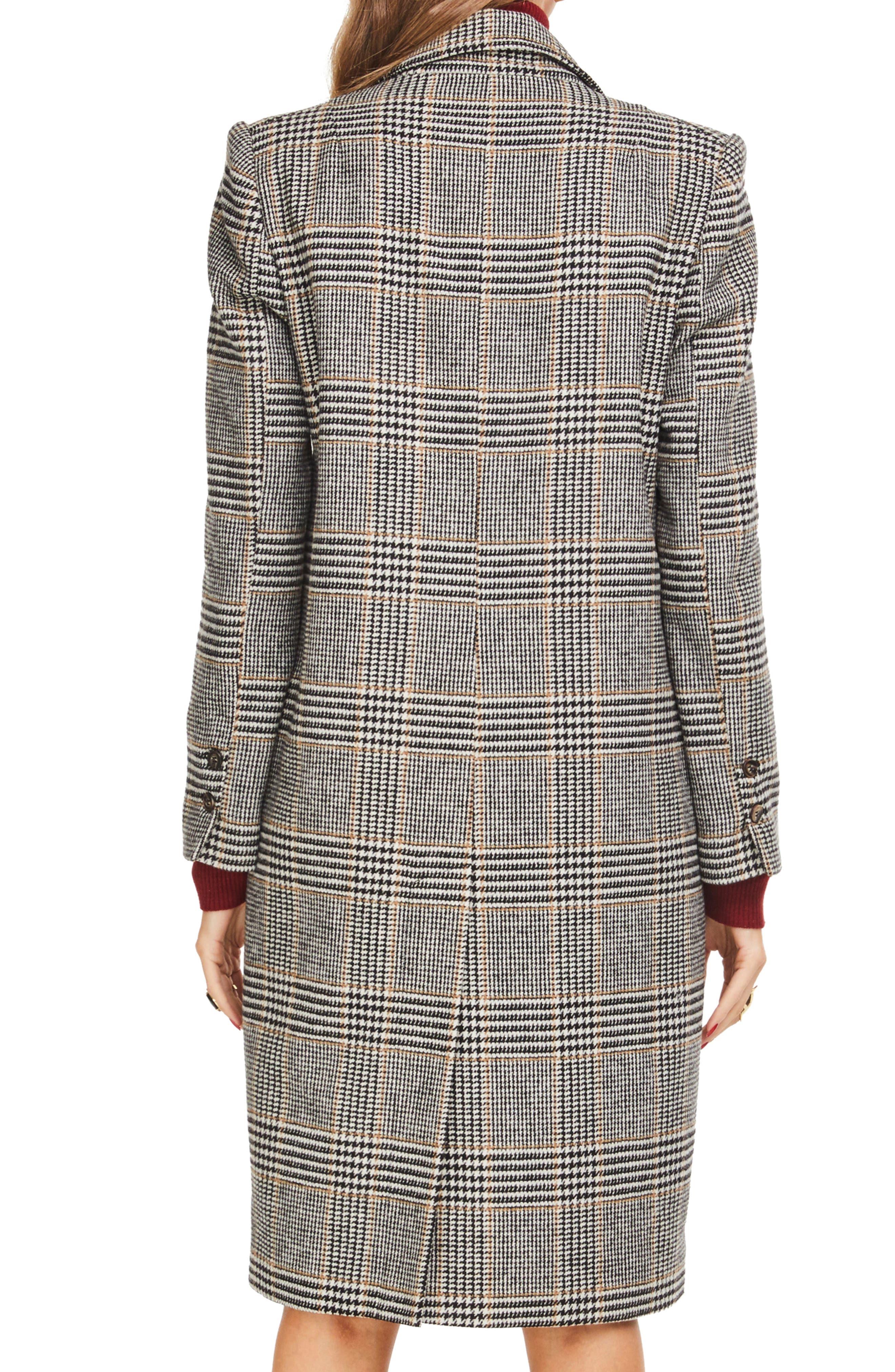 Kensington Plaid Long Coat,                             Alternate thumbnail 2, color,                             BLACK/ MUSTARD PLAID