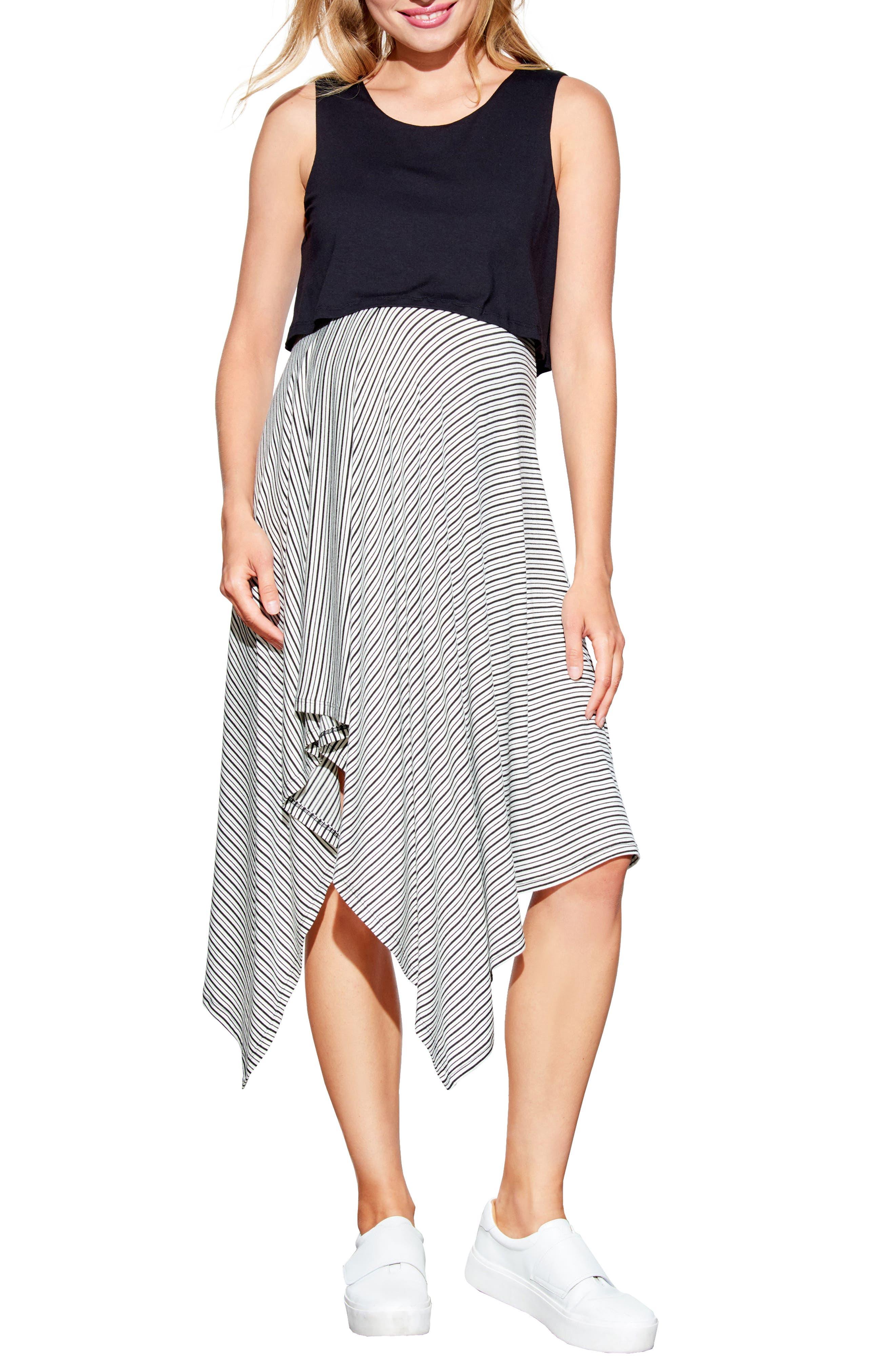 Handkerchief Hem Maternity/Nursing Dress,                         Main,                         color, 001