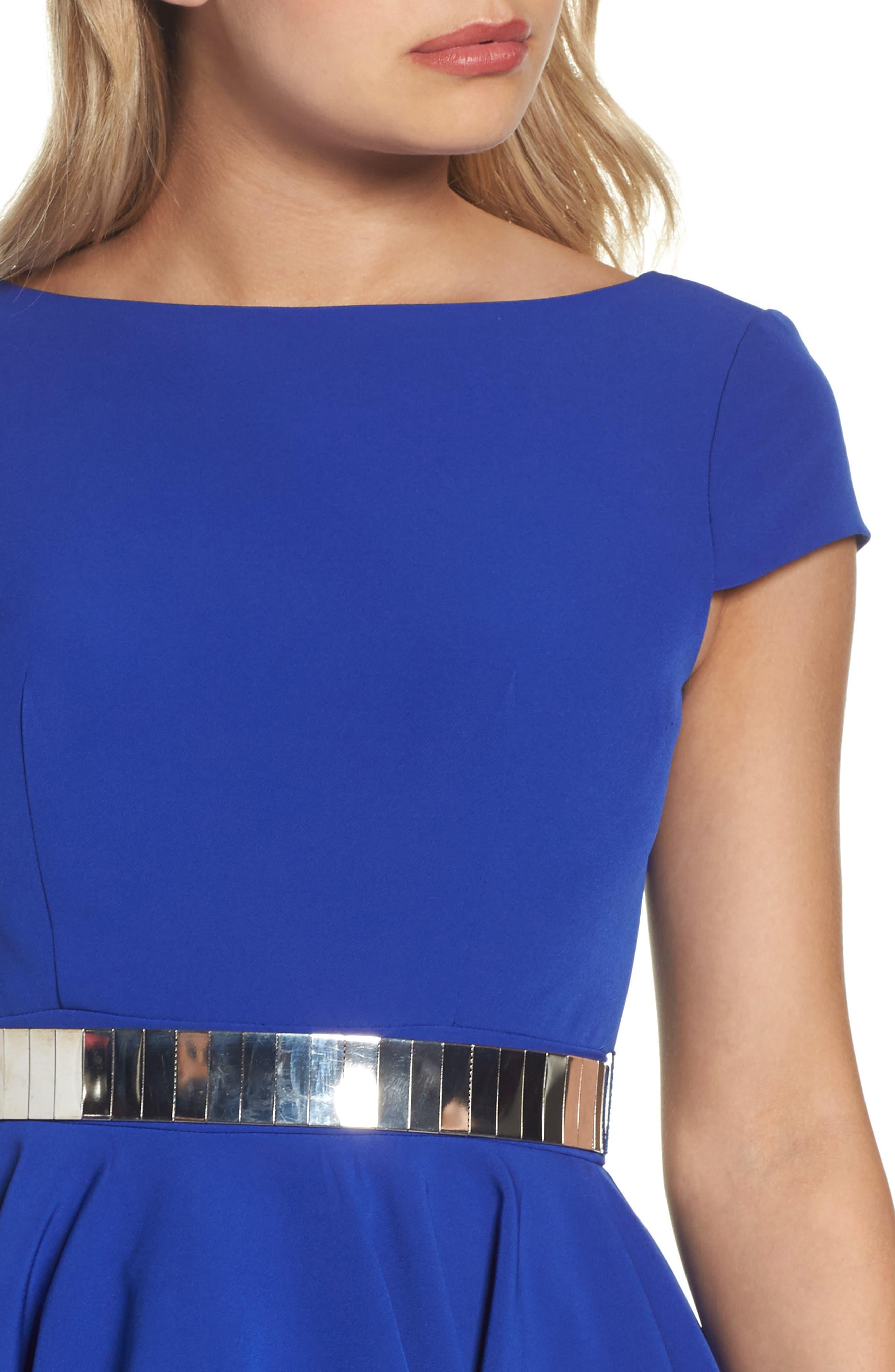 Belted Open Back Fit & Flare Dress,                             Alternate thumbnail 4, color,                             465