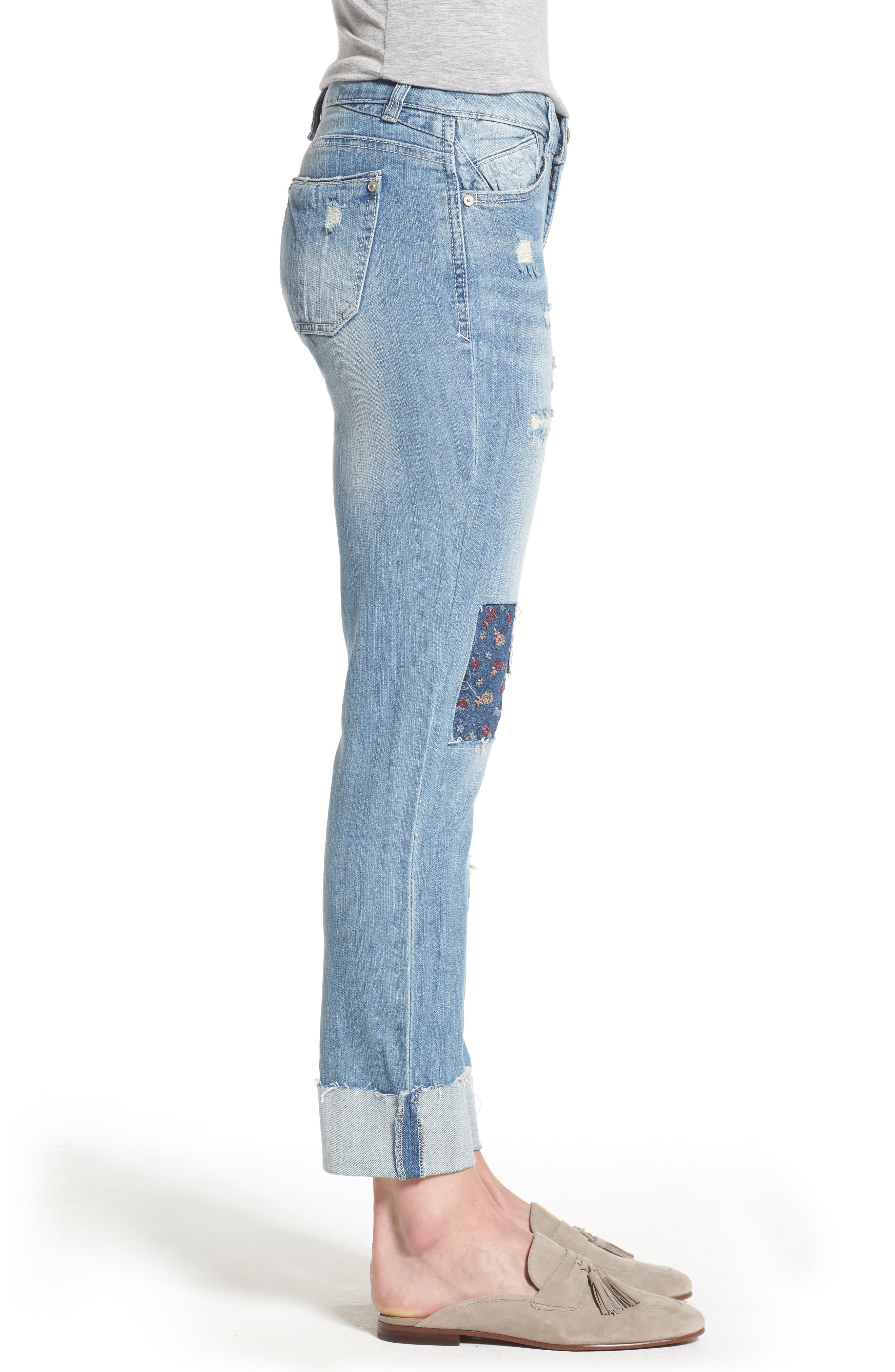 Ripped Girlfriend Jeans,                             Alternate thumbnail 3, color,