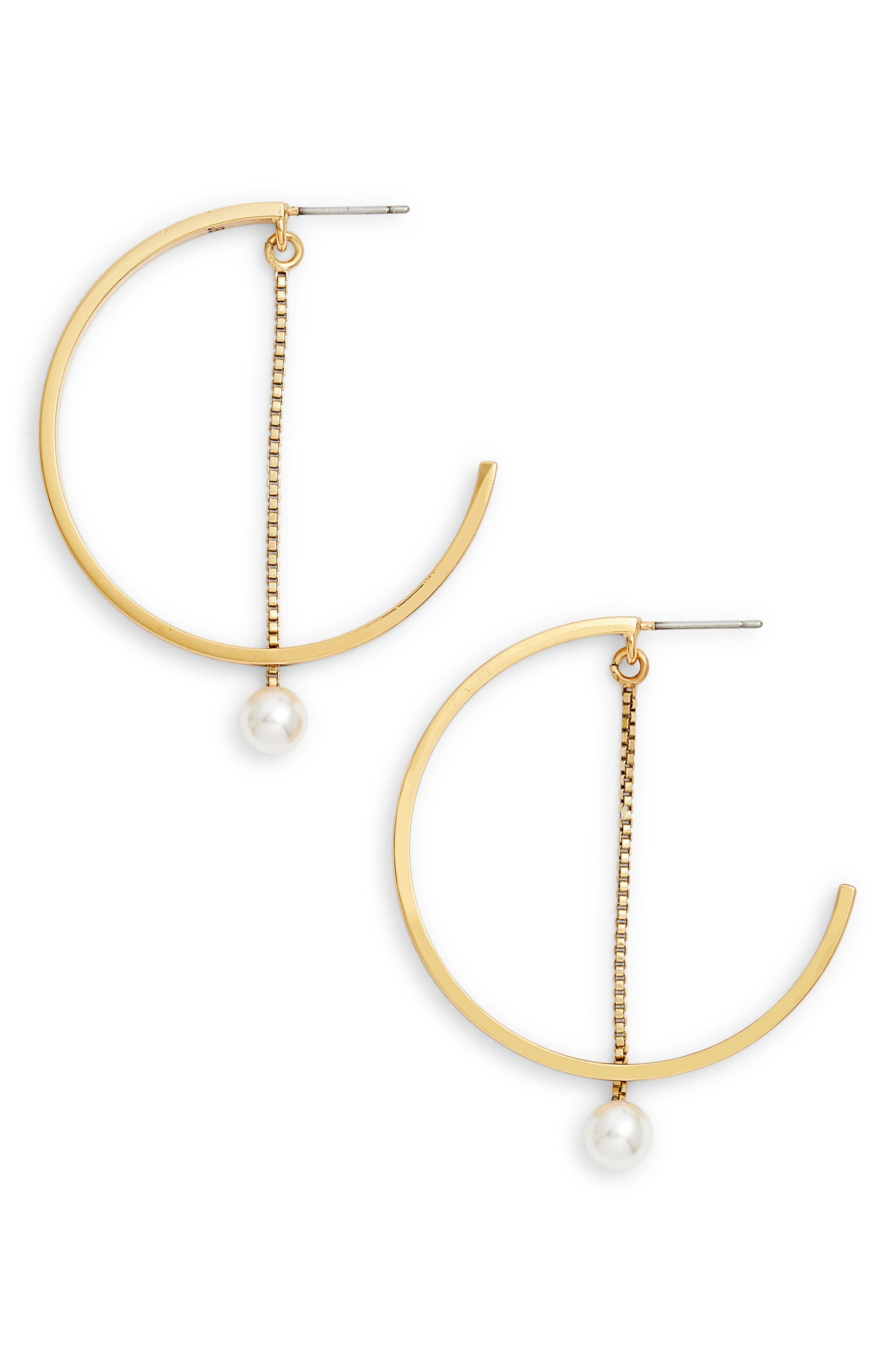 Faux Akoya Pearl Hoop Earrings,                             Main thumbnail 1, color,                             GOLD