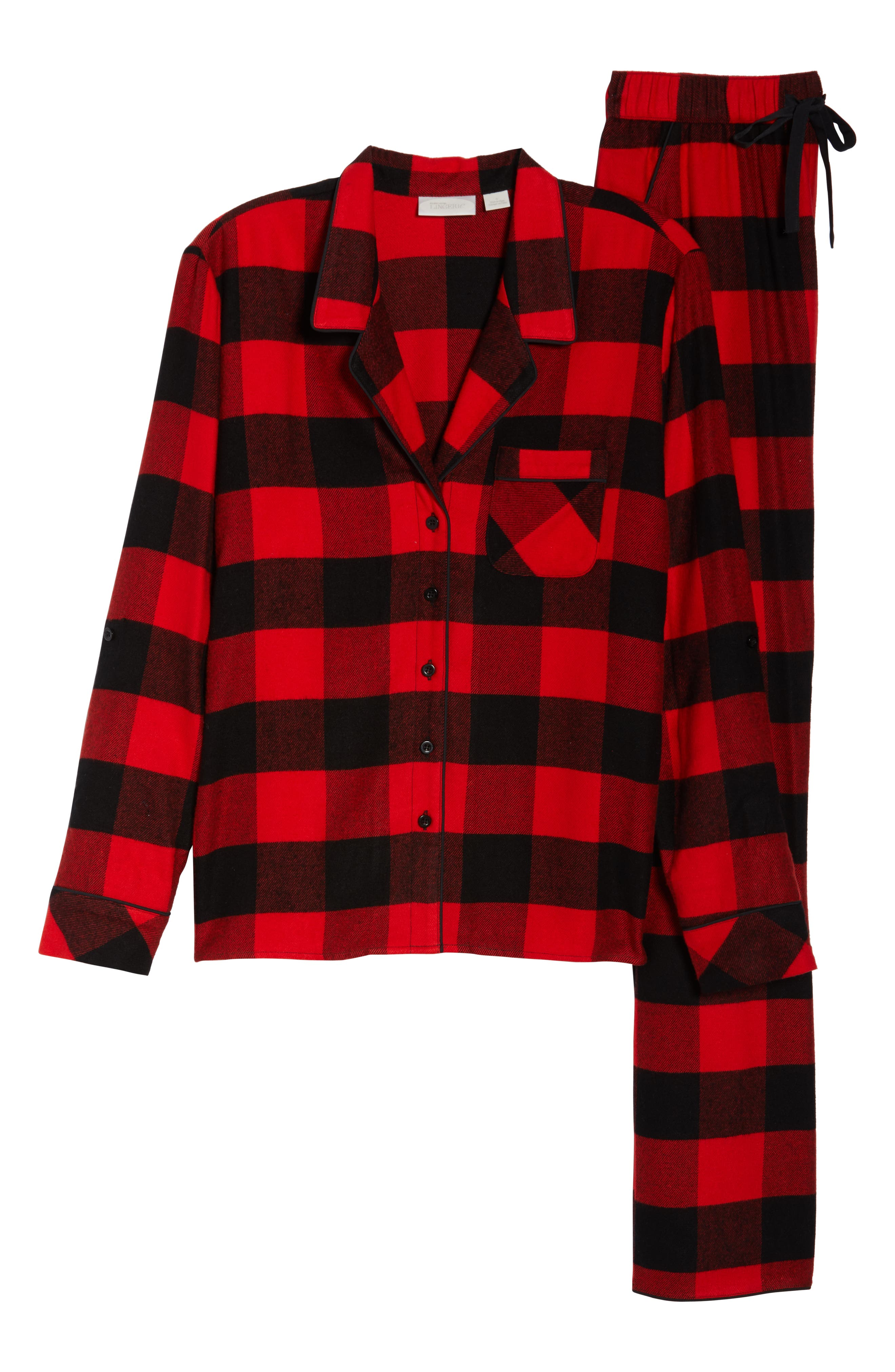 Lingerie Starlight Flannel Pajamas,                             Alternate thumbnail 6, color,                             RED BLOOM LARGE BUFFALO CHECK