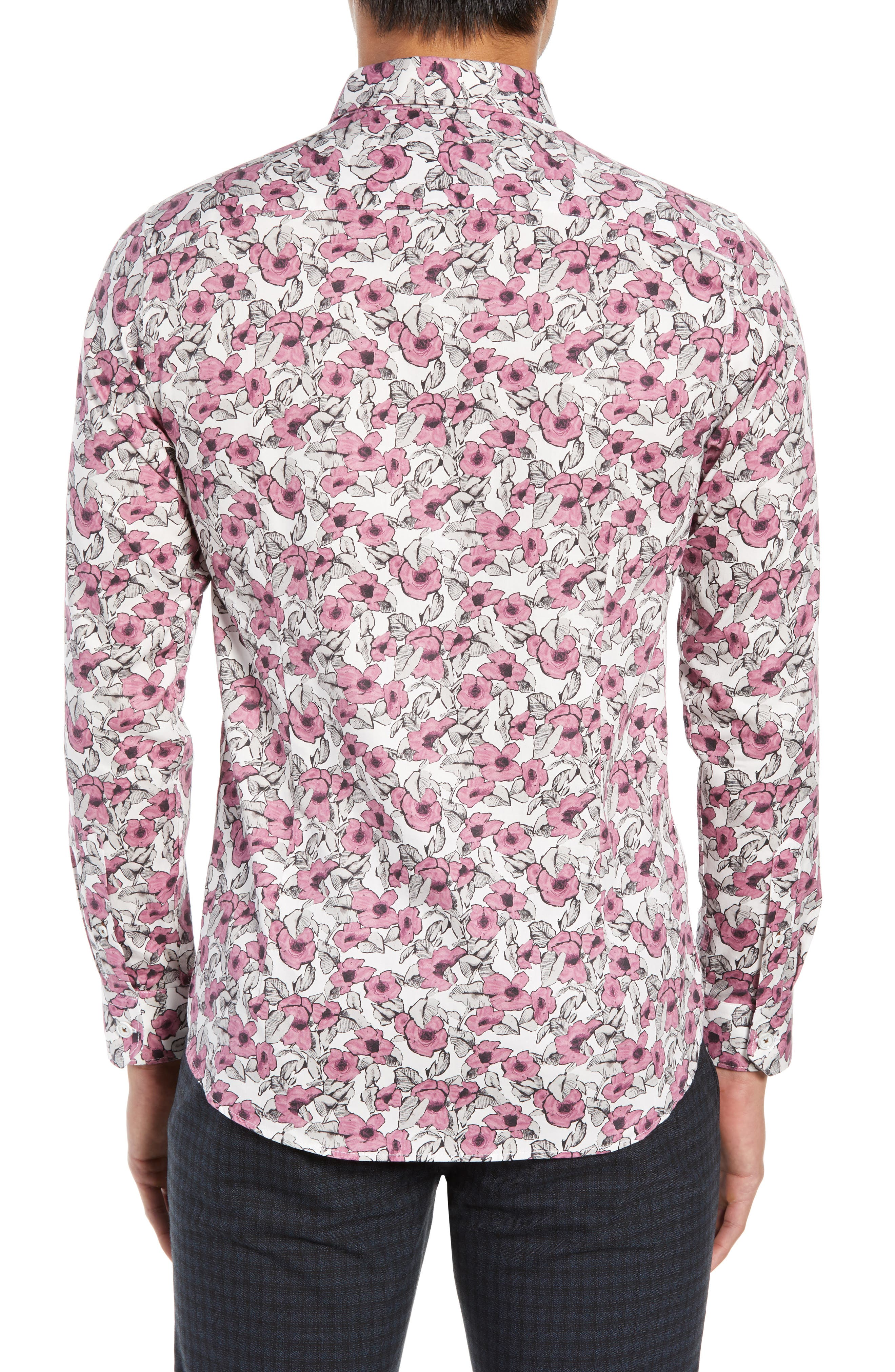 Croyden Slim Fit Floral Sport Shirt,                             Alternate thumbnail 3, color,                             PINK