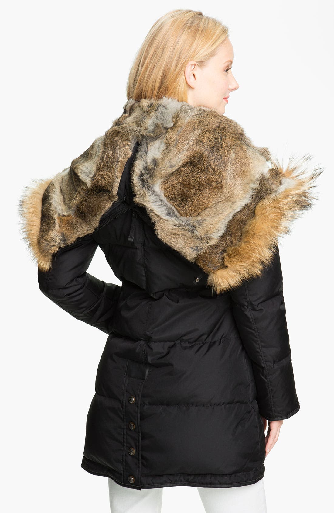 'Cougar' Down Parka with Genuine Coyote & Rabbit Fur,                             Alternate thumbnail 3, color,                             001