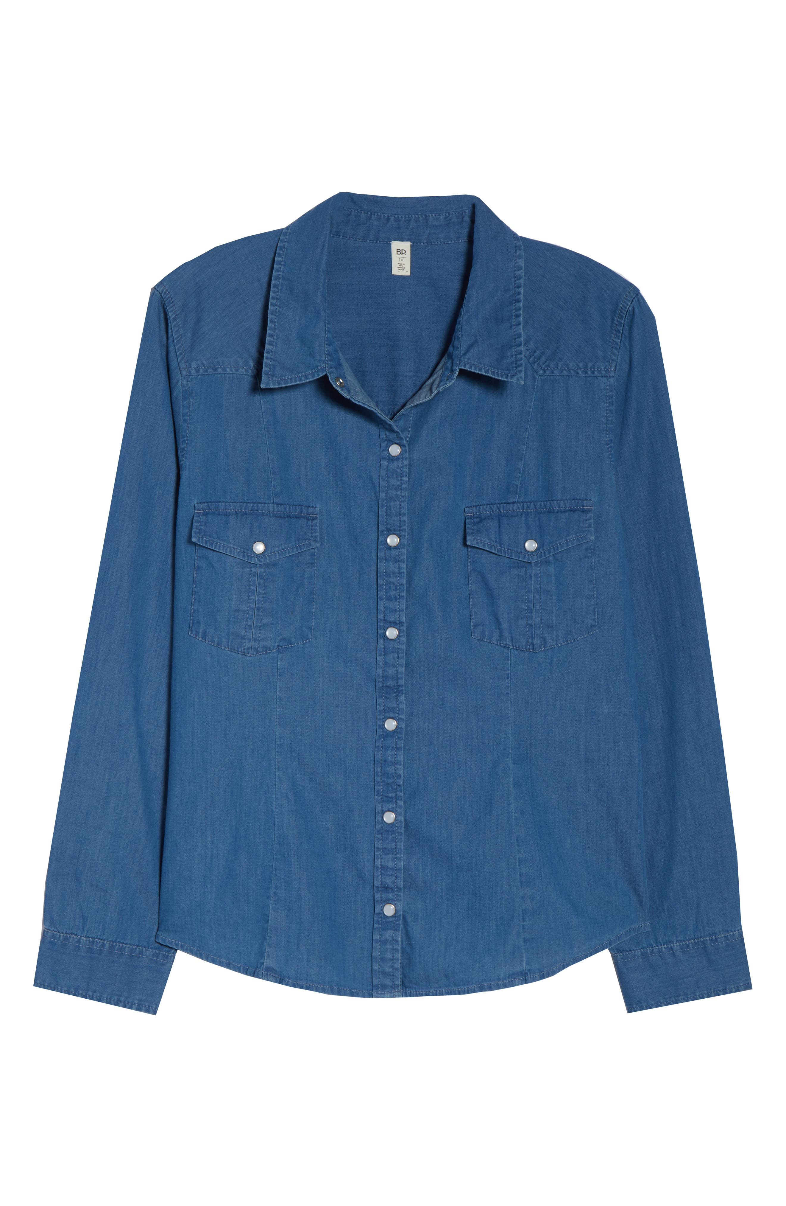 Fitted Chambray Shirt,                             Alternate thumbnail 12, color,                             ROBIN INDIGO