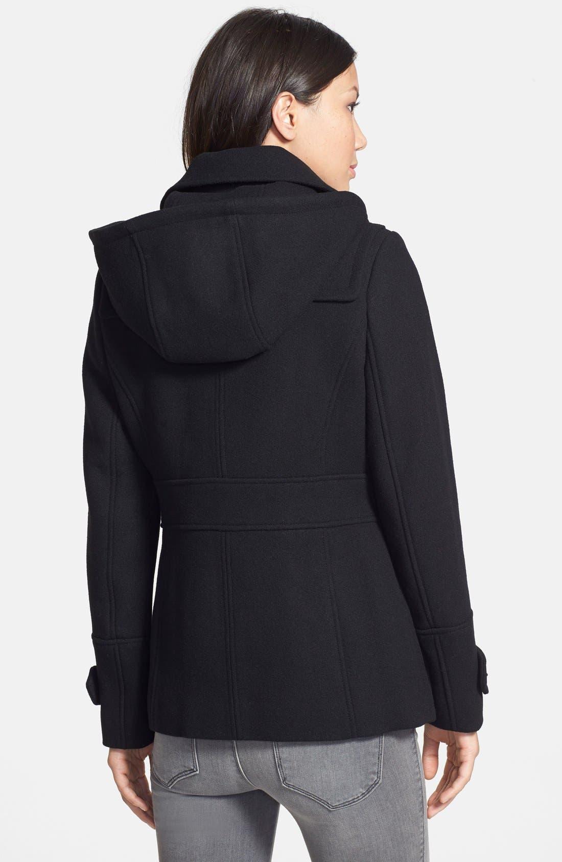 Wool Blend Duffle Coat,                             Alternate thumbnail 2, color,                             001