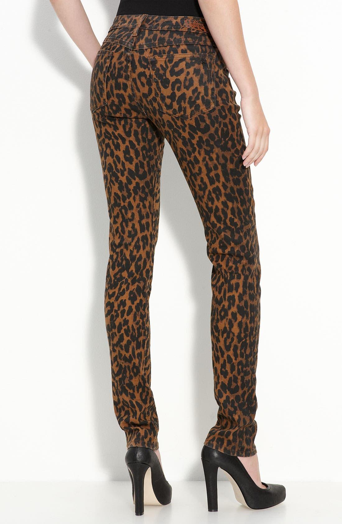 Leopard Print Skinny Stretch Denim Jeans, Main, color, 200