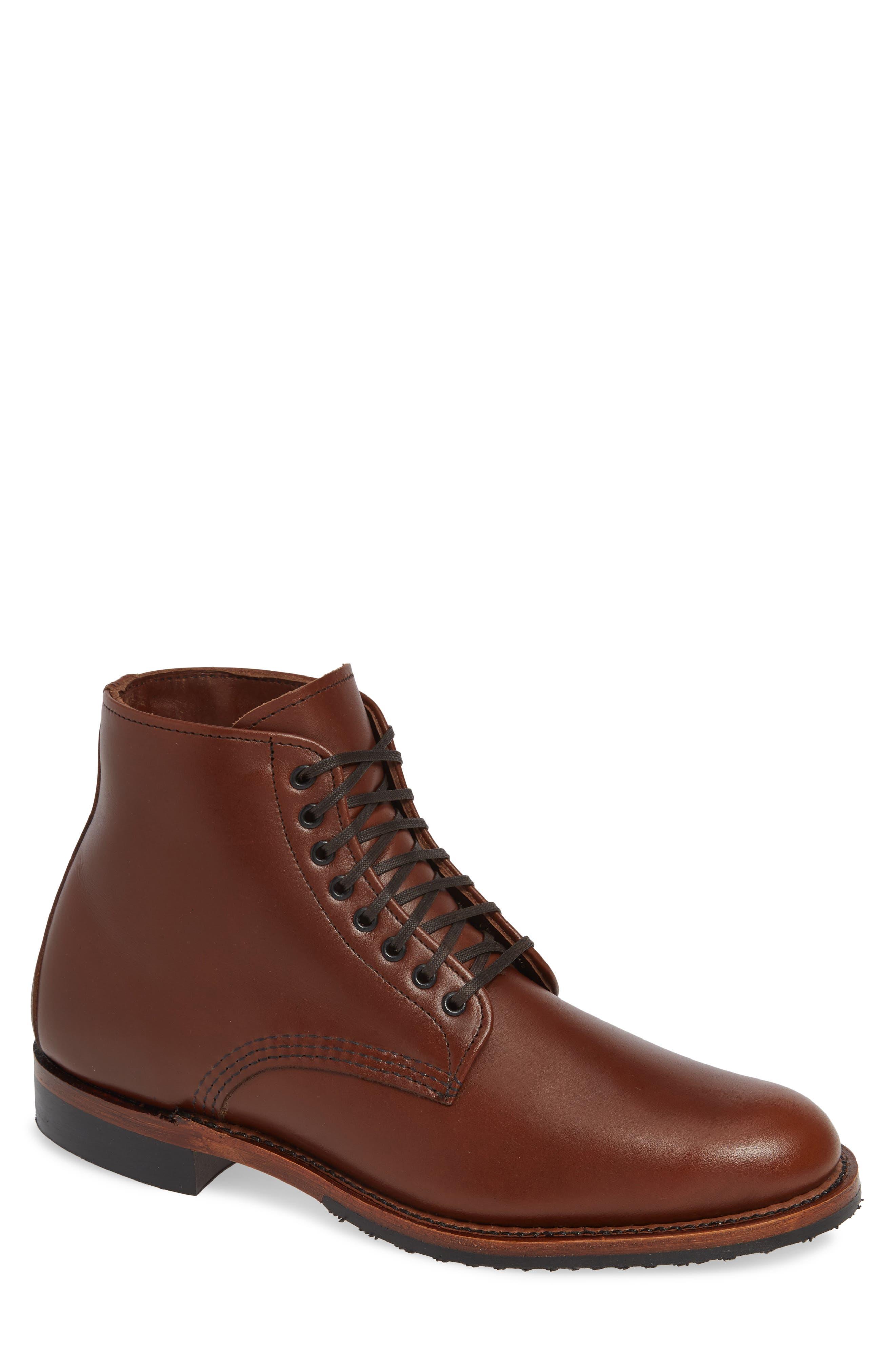 RED WING Williston Plain Toe Boot in Teak Leather