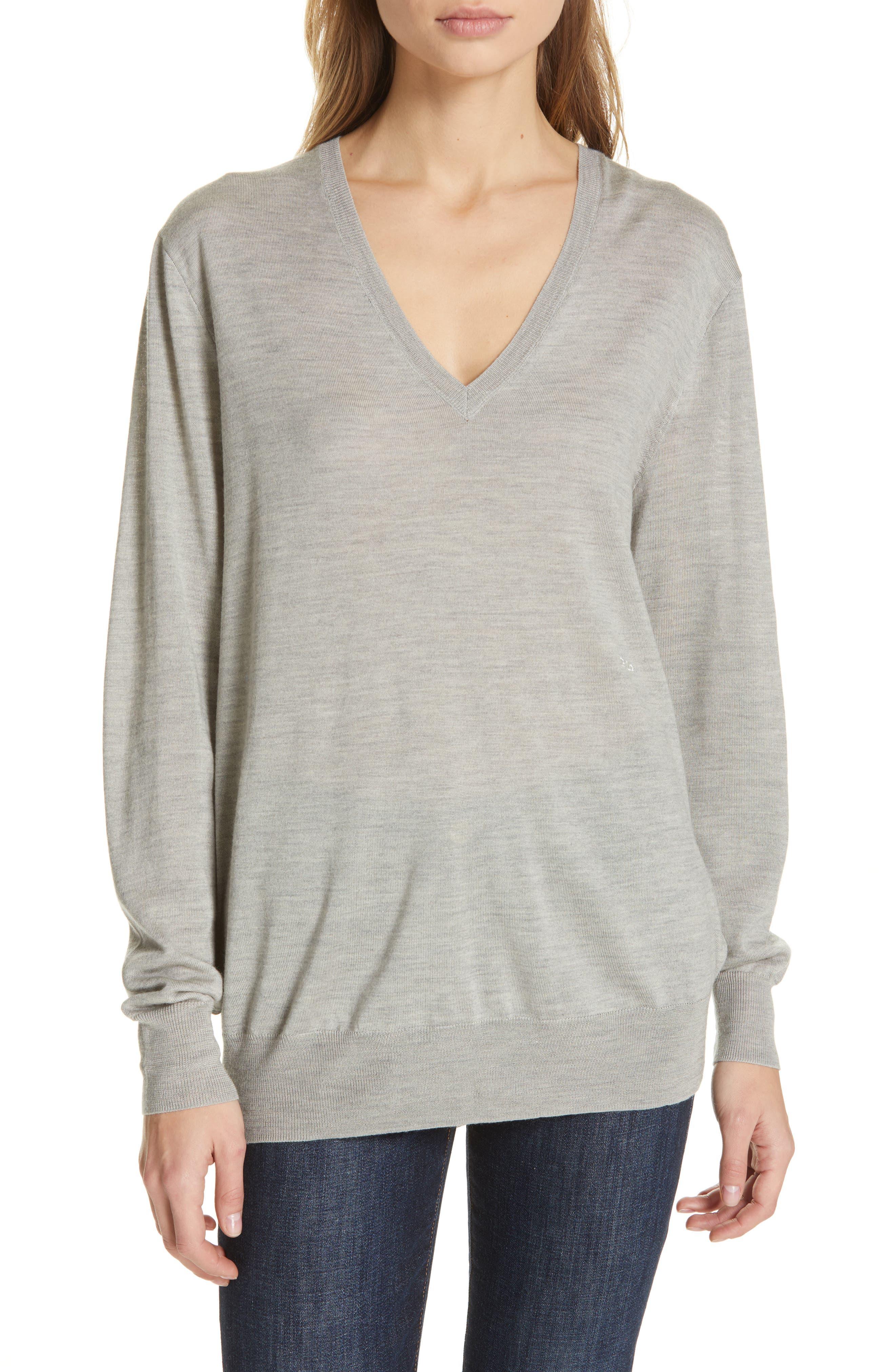 POLO RALPH LAUREN V-Neck Wool, Silk & Cashmere Sweater, Main, color, LIGHT VINTAGE HEATHER