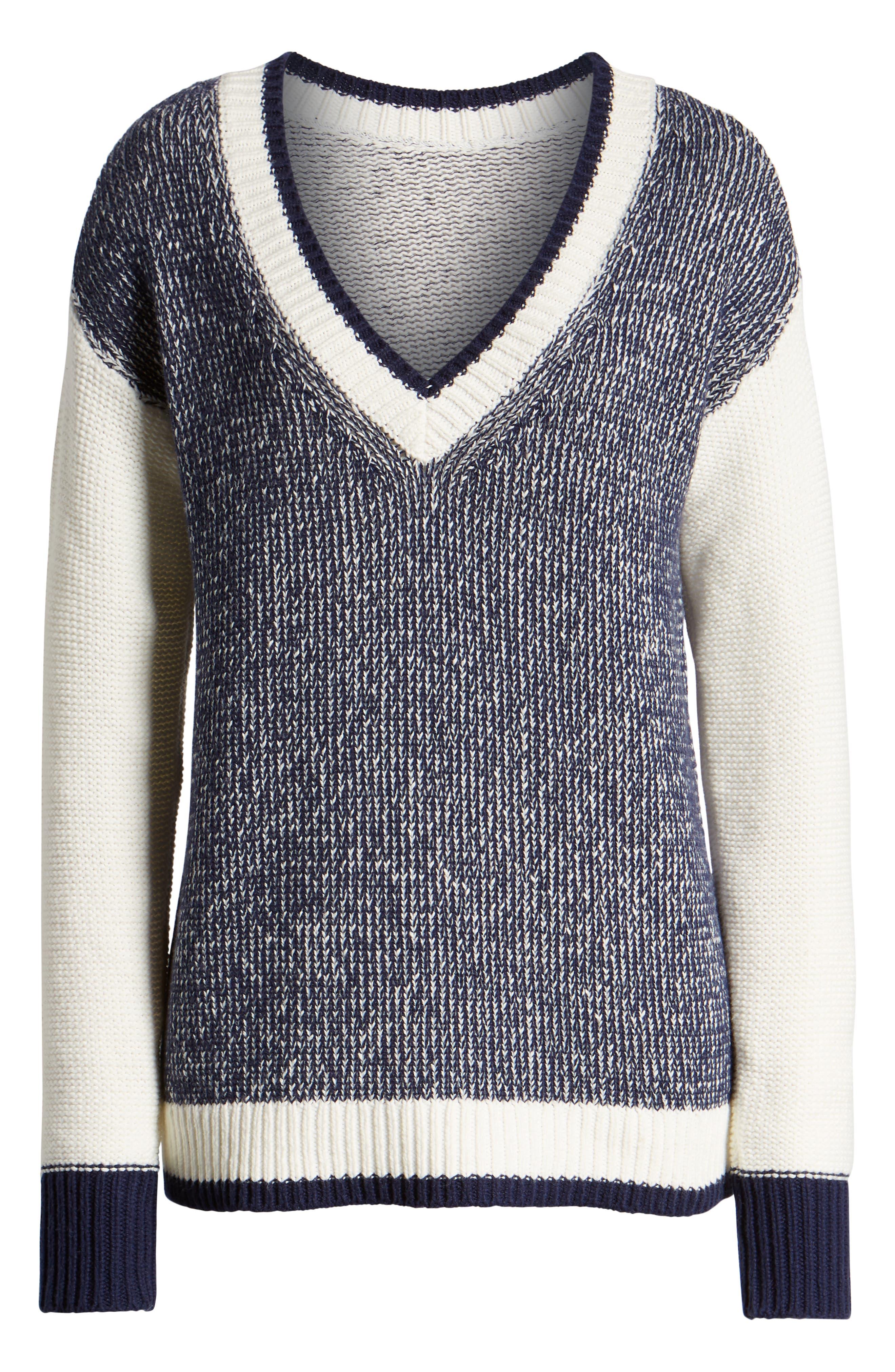 Marled V-Neck Sweater,                             Alternate thumbnail 6, color,                             NAVY MARITIME- WHITE COMBO