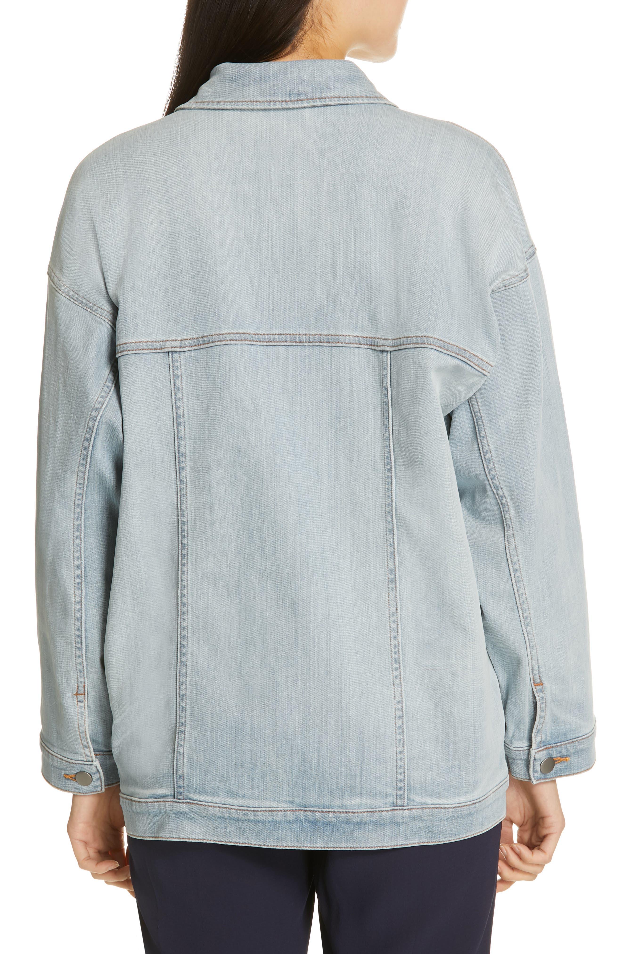 Oversize Stretch Organic Cotton Denim Jacket,                             Alternate thumbnail 2, color,                             ICE BLUE