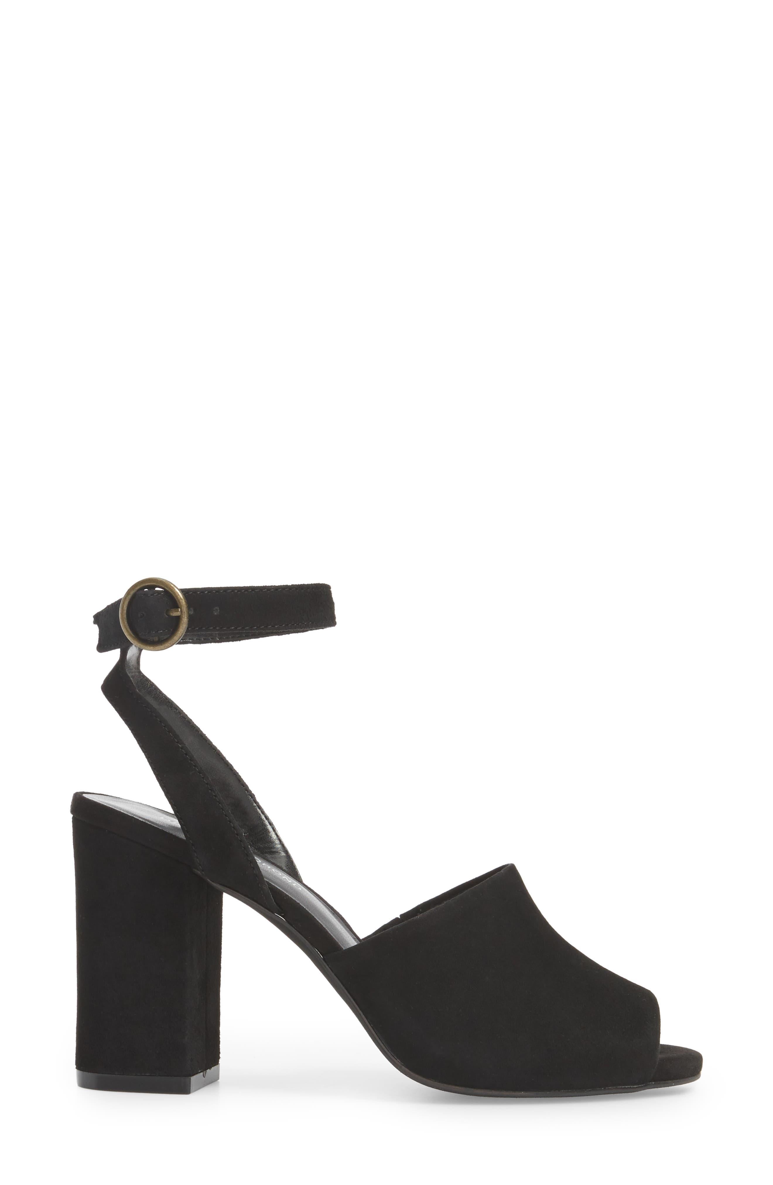 Pipper Block Heel Sandal,                             Alternate thumbnail 3, color,                             BLACK SUEDE