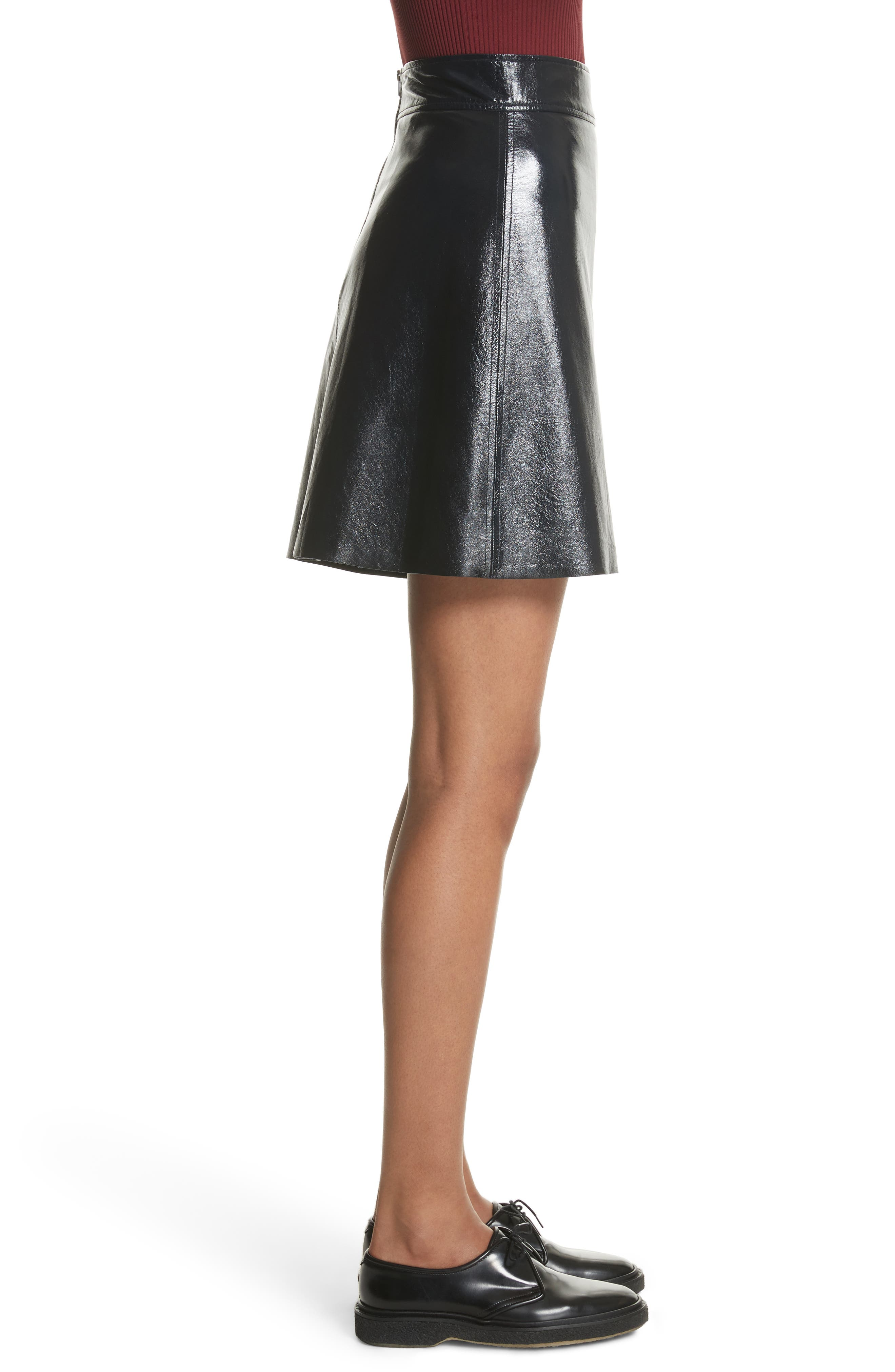 Crinkled Patent Leather Miniskirt,                             Alternate thumbnail 3, color,