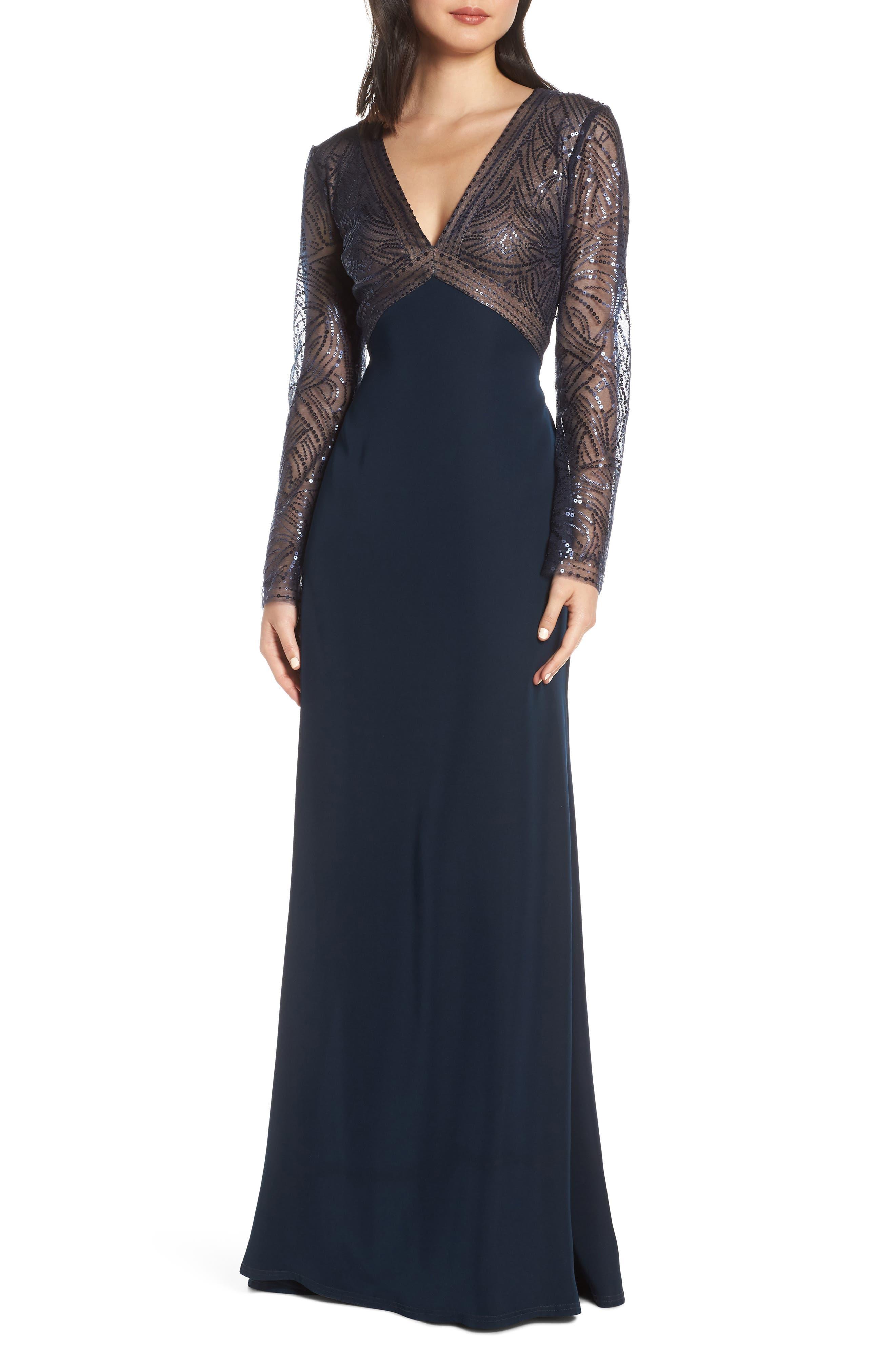Tadashi Shoji Sequin & Crepe Long Sleeve Evening Dress, Blue