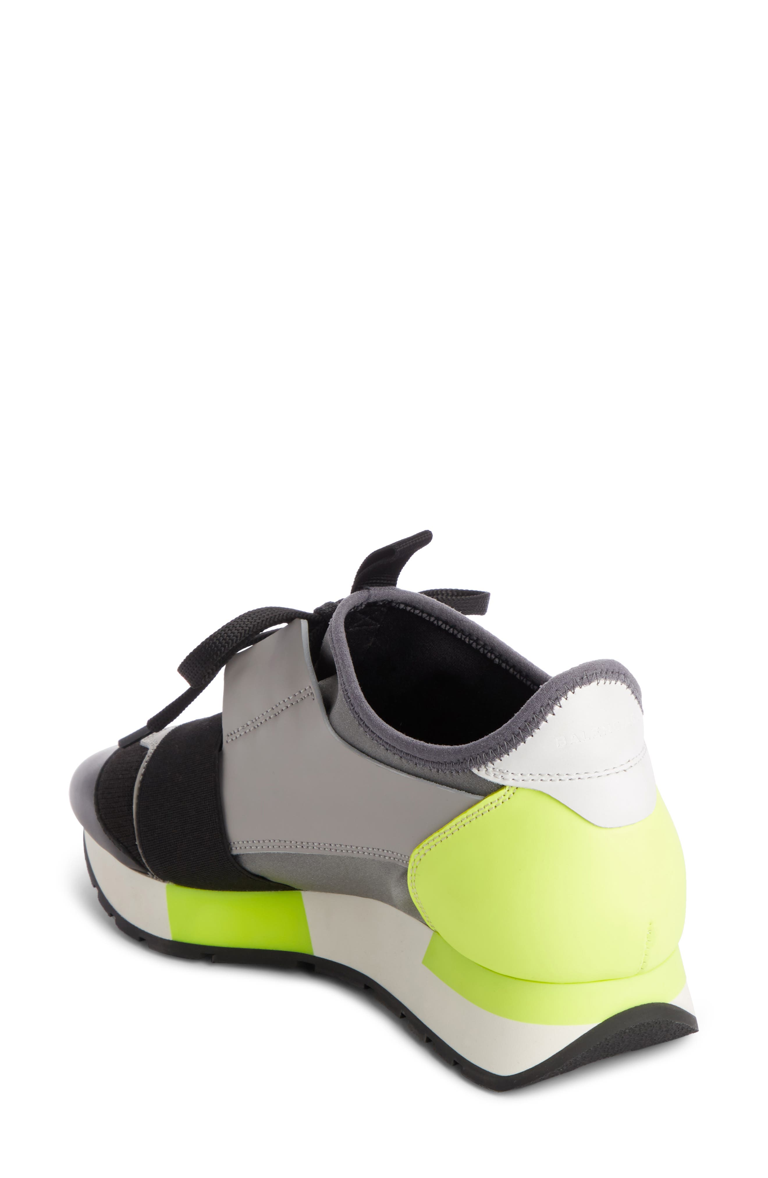 Lace-Up Sneaker,                             Alternate thumbnail 2, color,                             BLACK/ GREY/ YELLOW