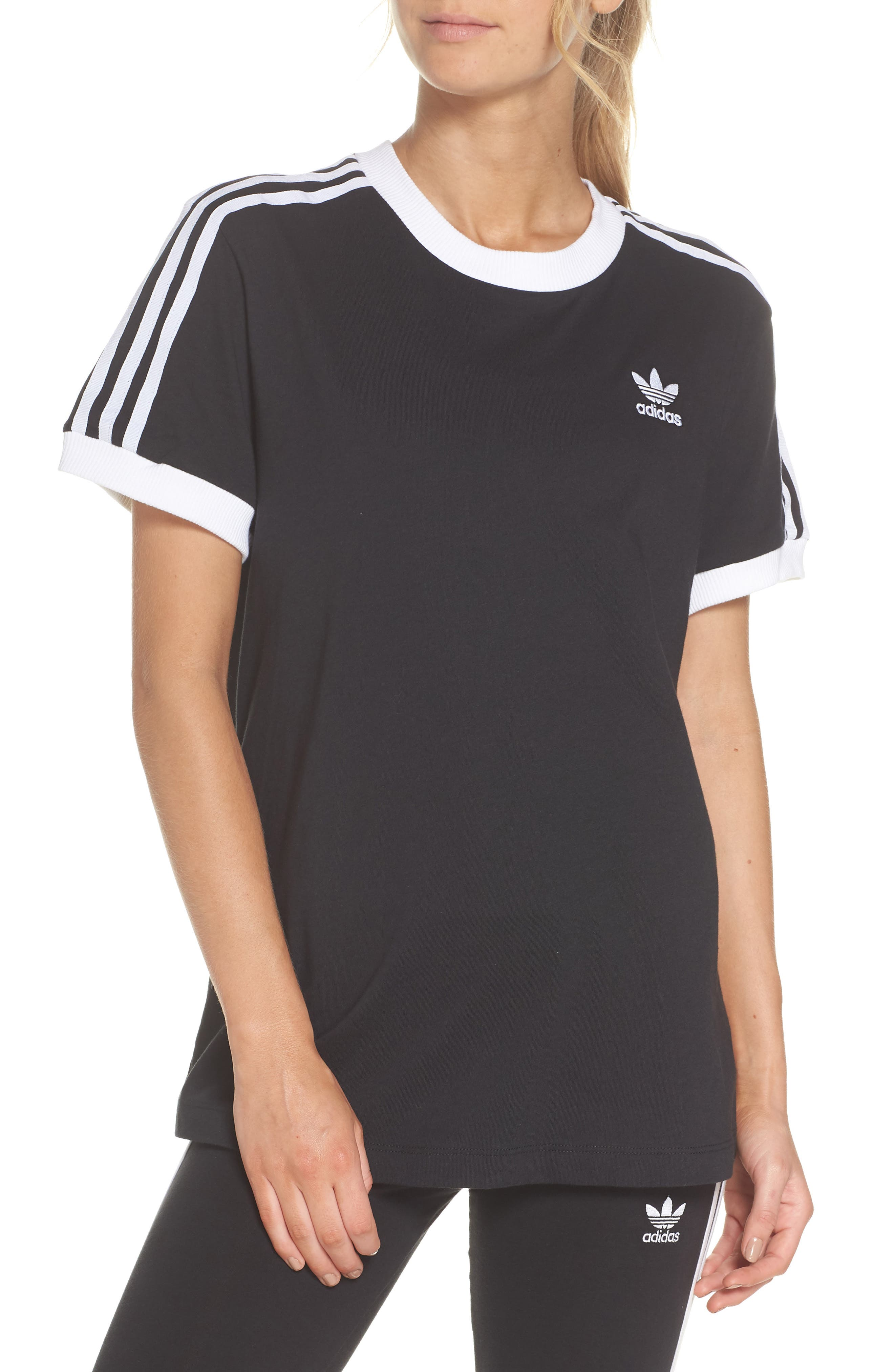 3-Stripes Tee,                         Main,                         color, BLACK
