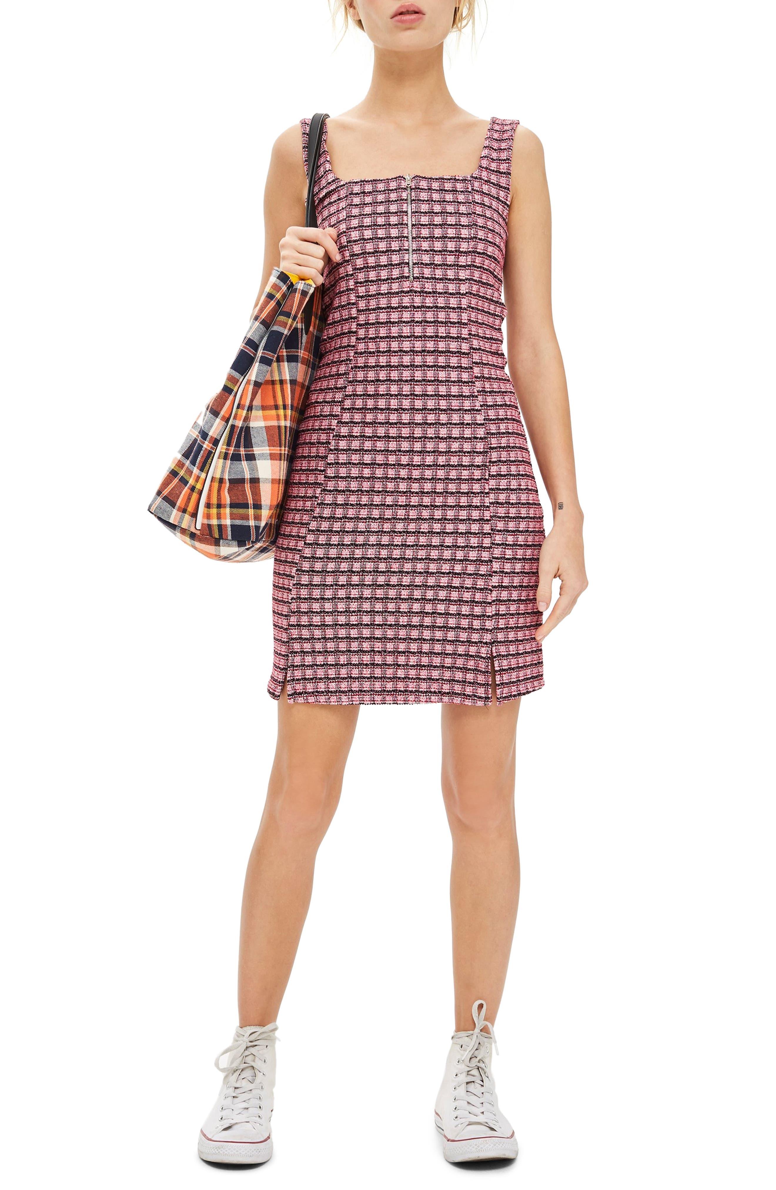 Topshop Mini Check Pinafore Dress, US (fits like 0) - Pink