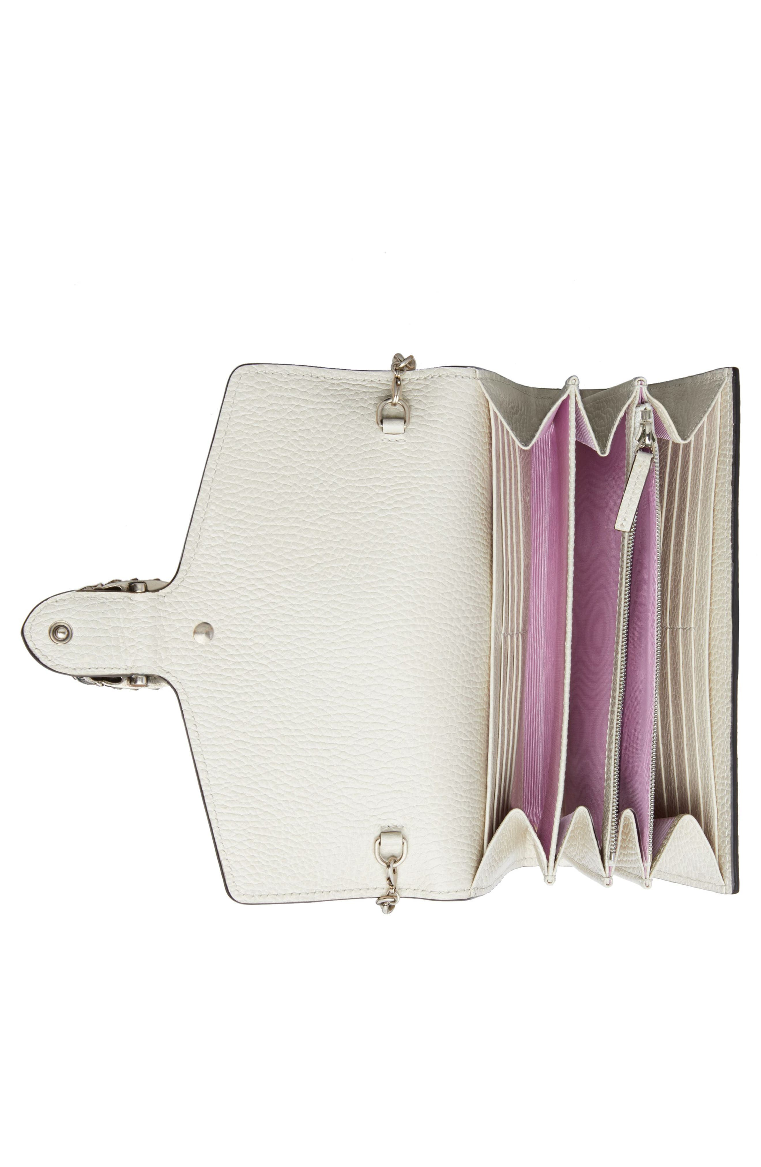 Small Dionysus Leather Clutch,                             Alternate thumbnail 3, color,                             MYSTIC WHITE/ BLACK DIAMOND